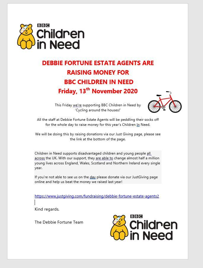 Debbie Fortune Estate Agents will be peddling their socks off tomorrow for Children in Need..