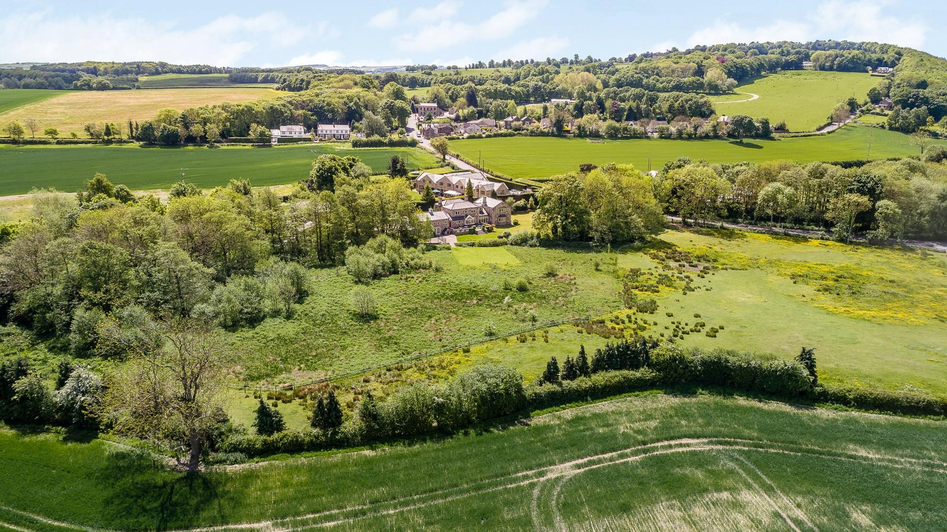 aerial birds eye view beautiful countryside house yorkshire