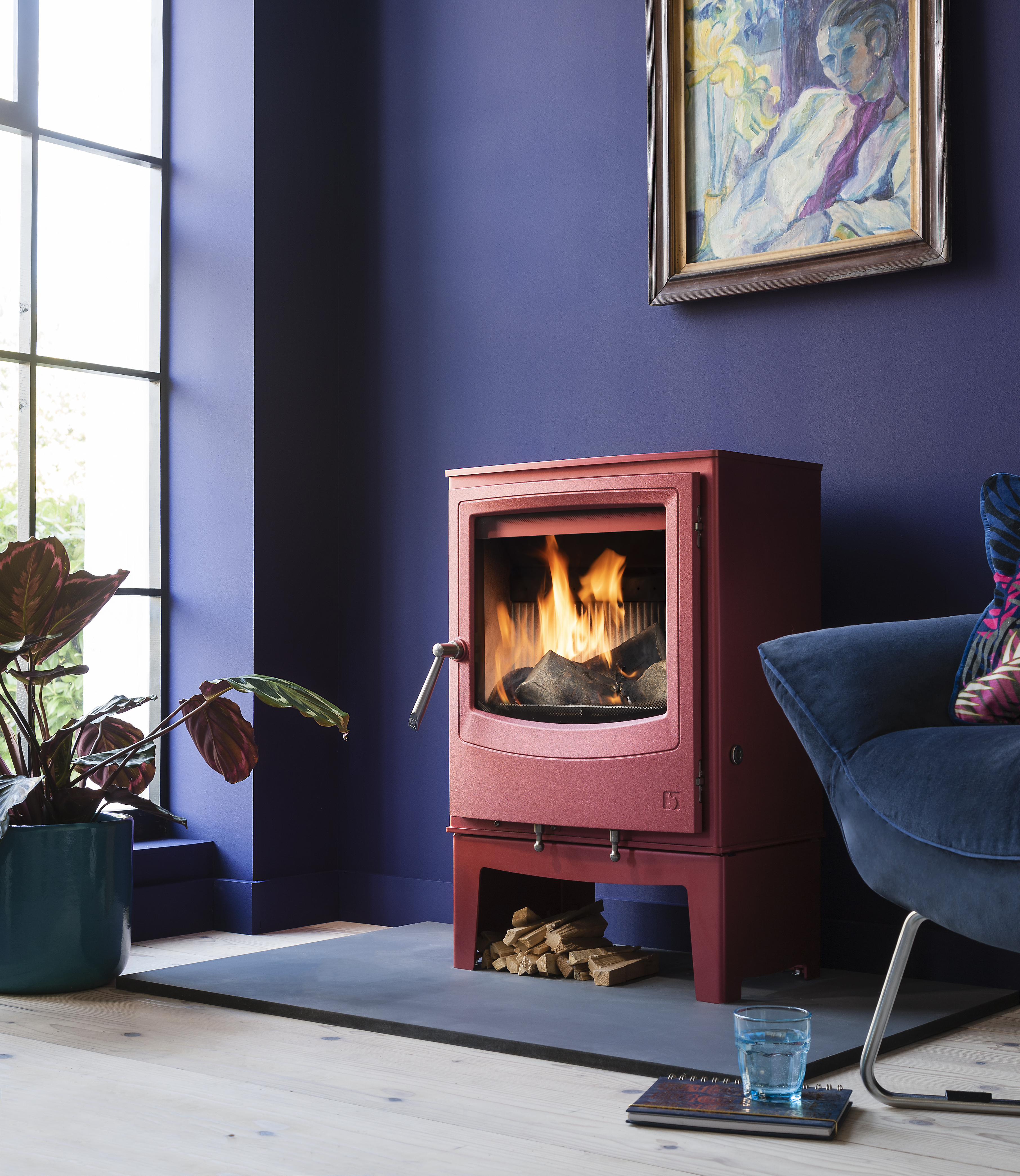 Arada Farringdon wood burning stove in red colourful