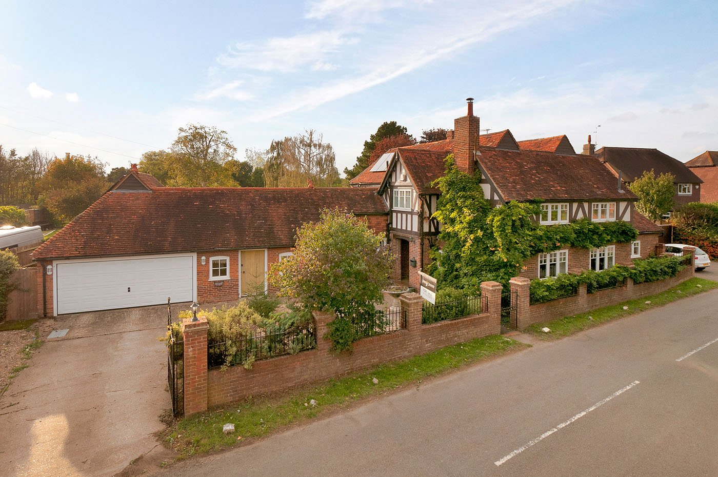 attractive traditional timber framed leafy facade family cottage house