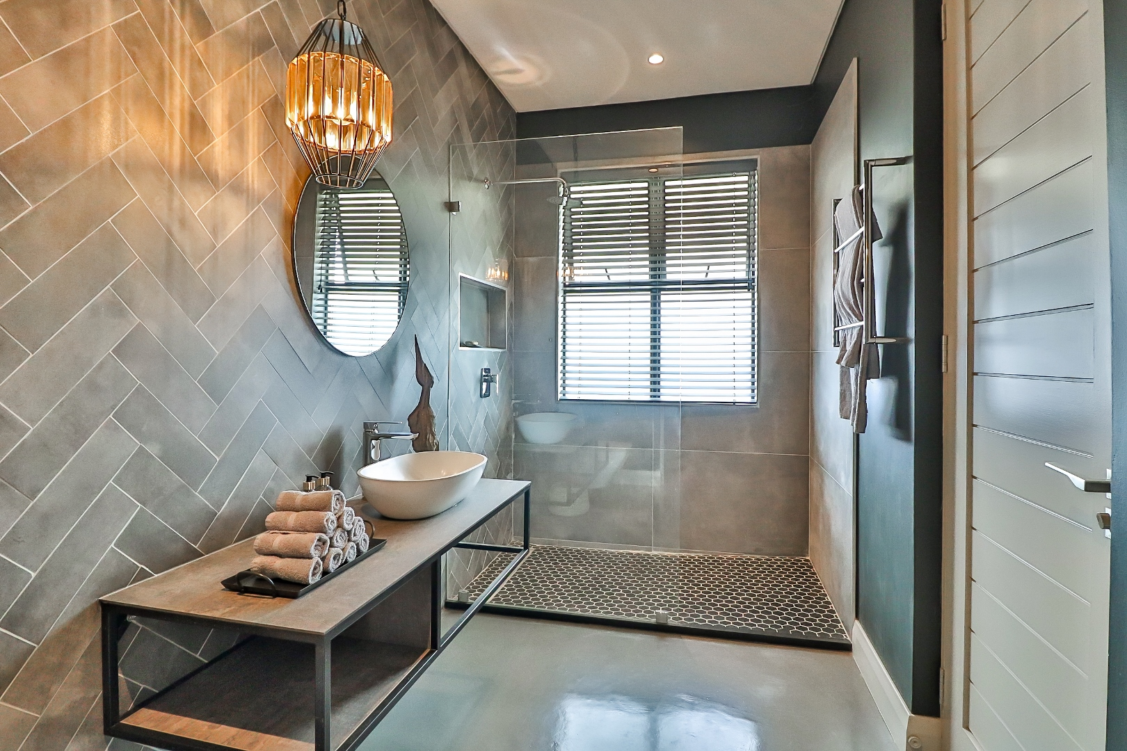 grey contemporary parquet tile luxury bathroom