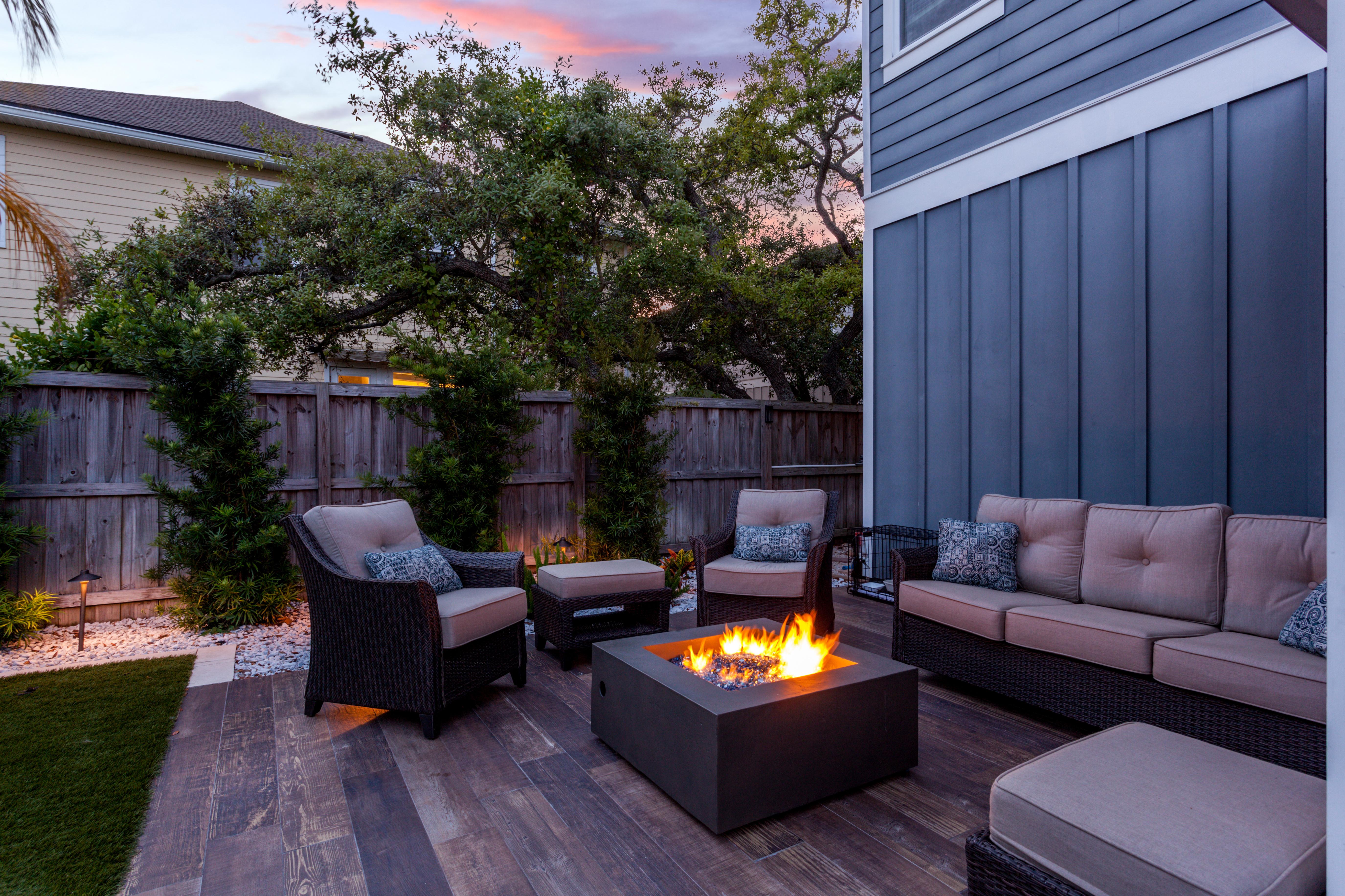 Beautiful backyard firepit at dusk