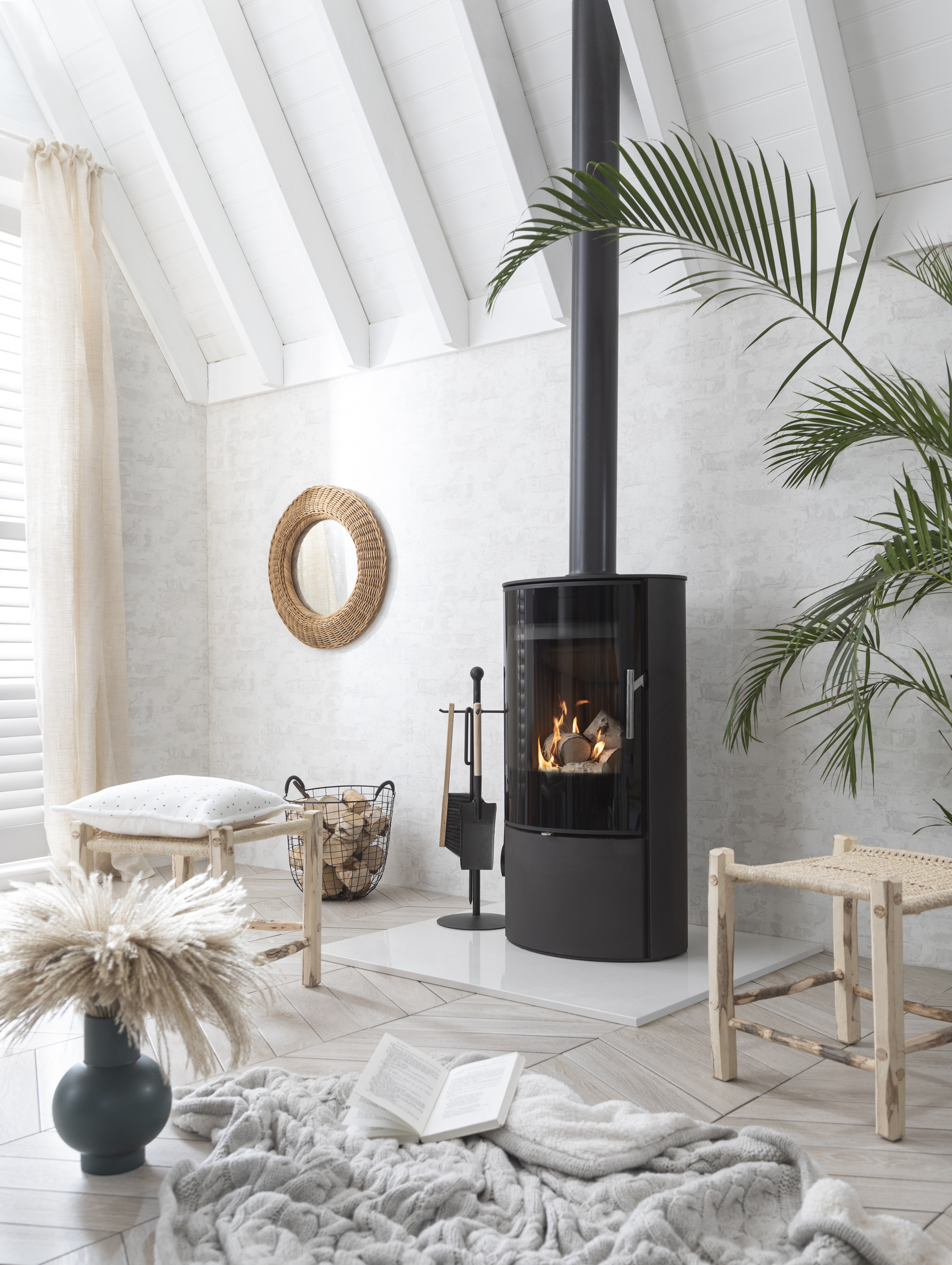 bright white cosy interiors read by wood burning stove
