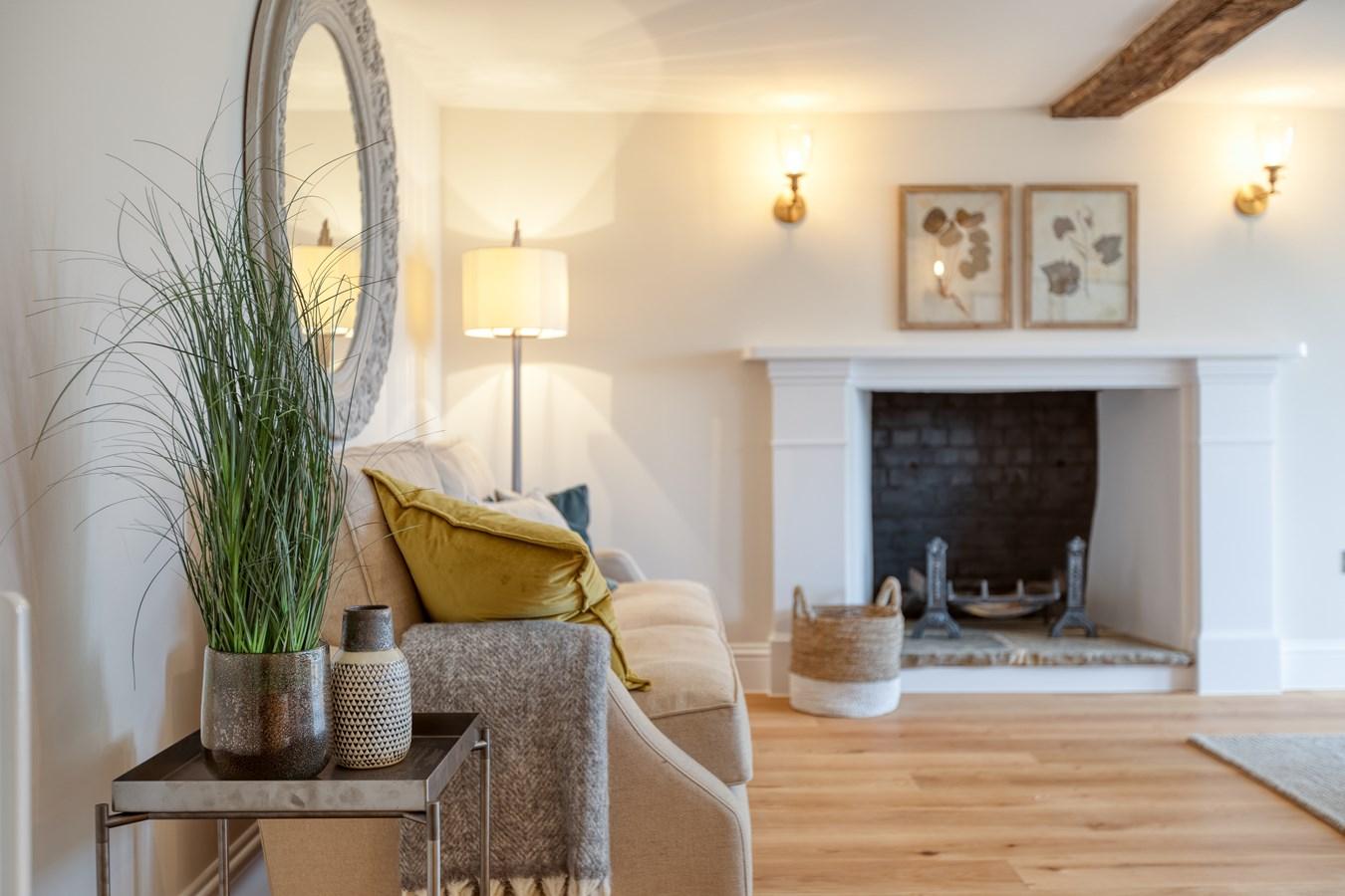 contemporary clean fresh English living room interior design