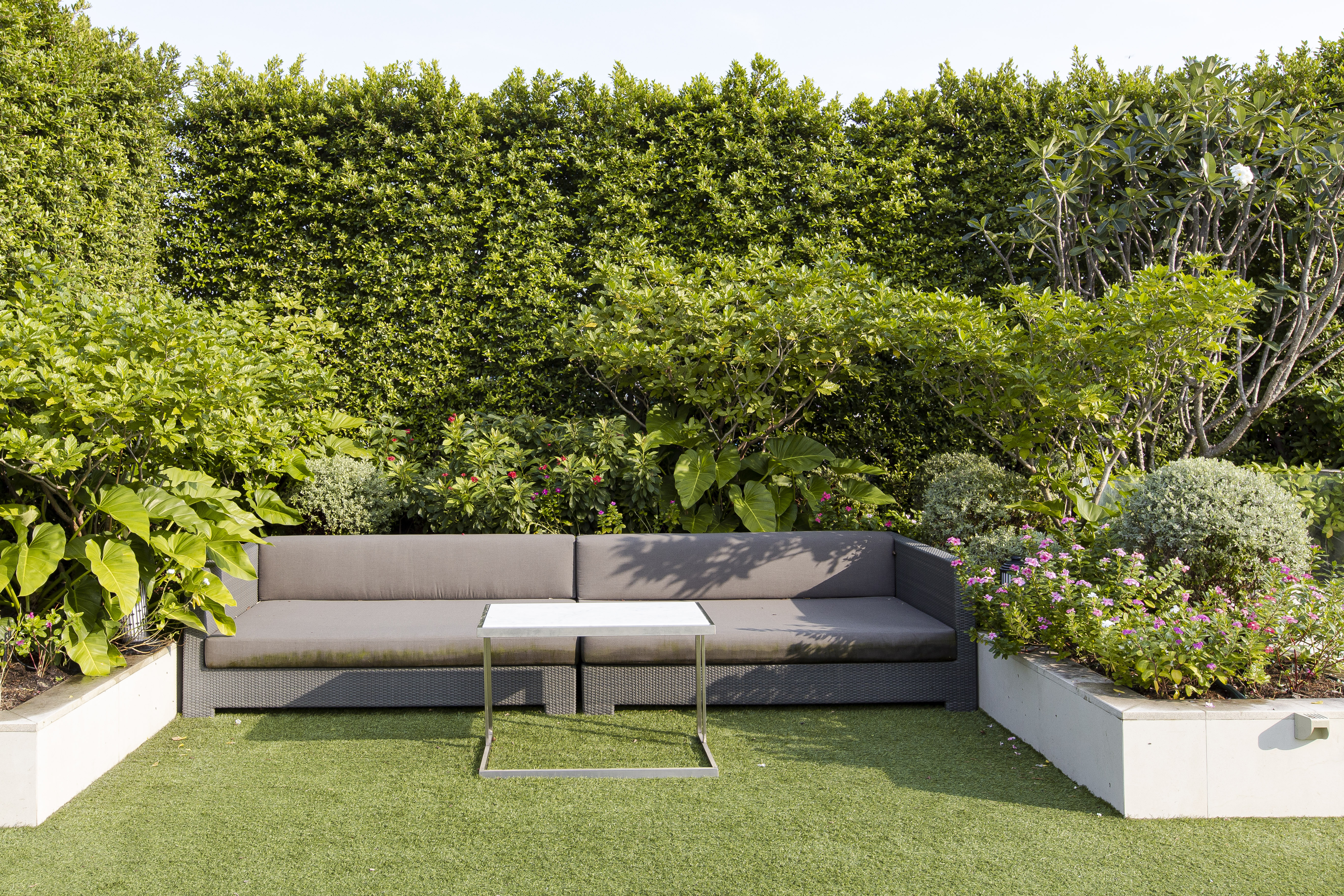 cosy garden seating nook sectioned with plants