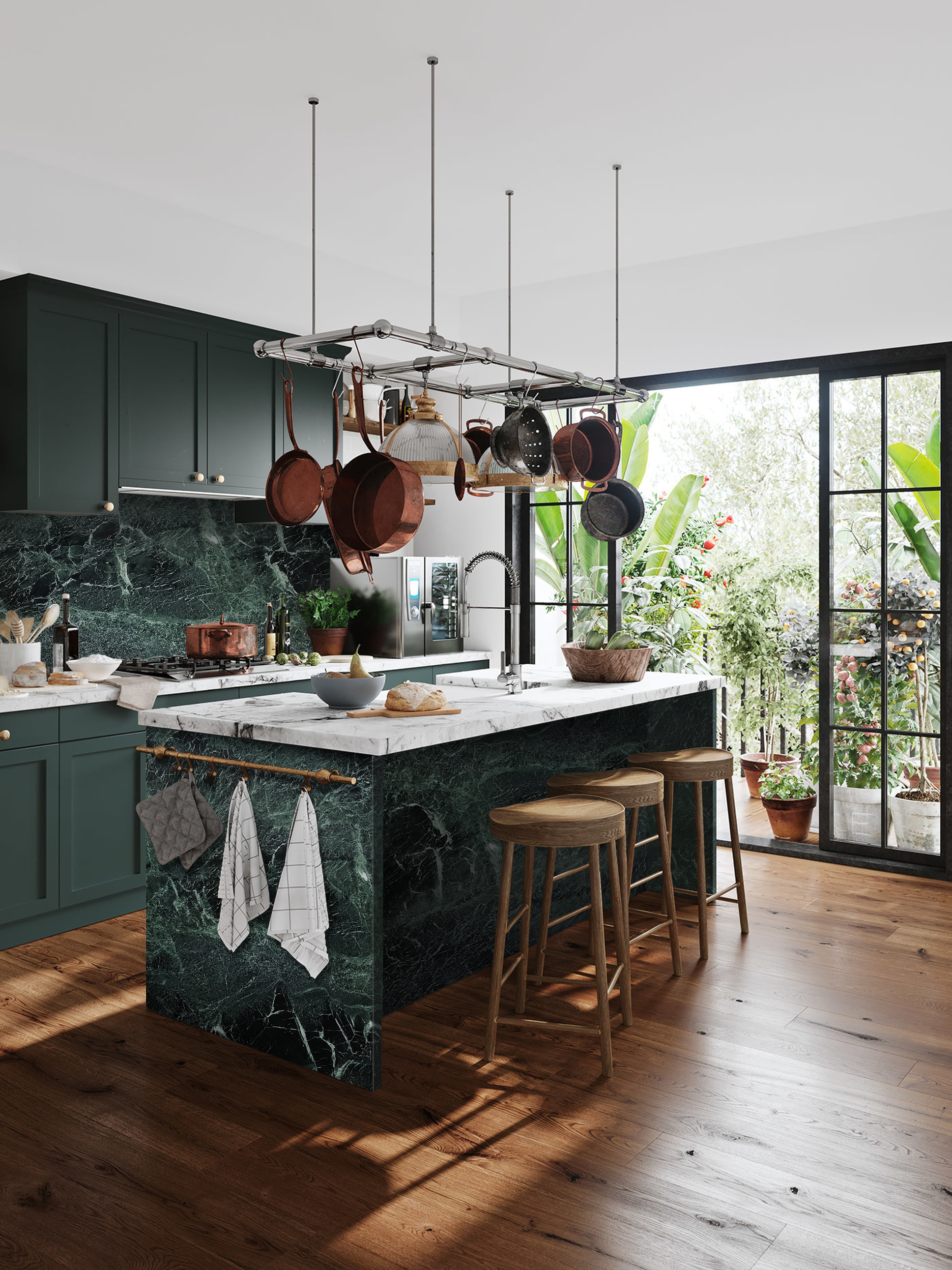 Cullifords Green Verde Tinos Carrara Mix Kitchen Marble Surface