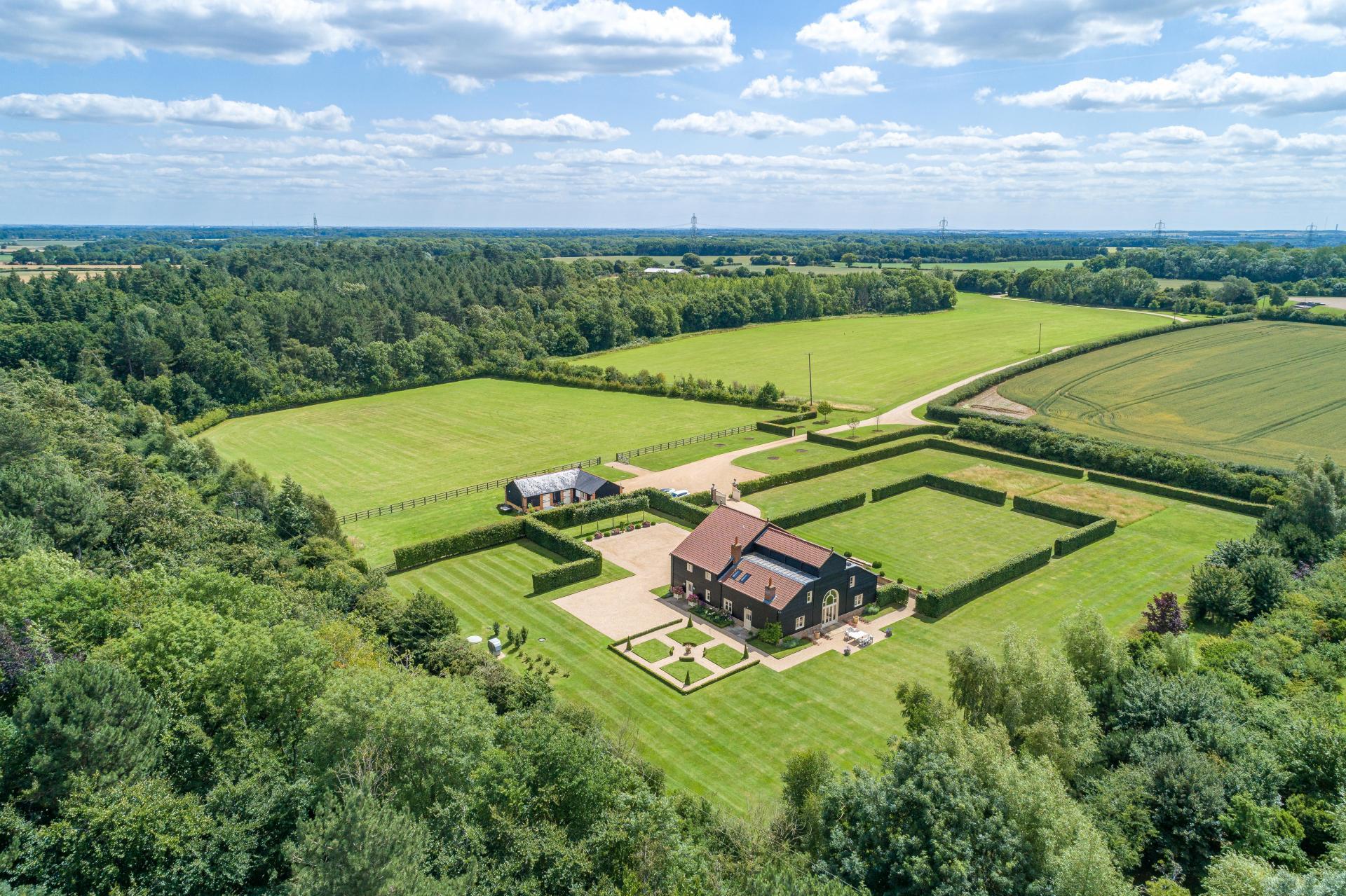 Dutch Gabled modern barn house in countryside