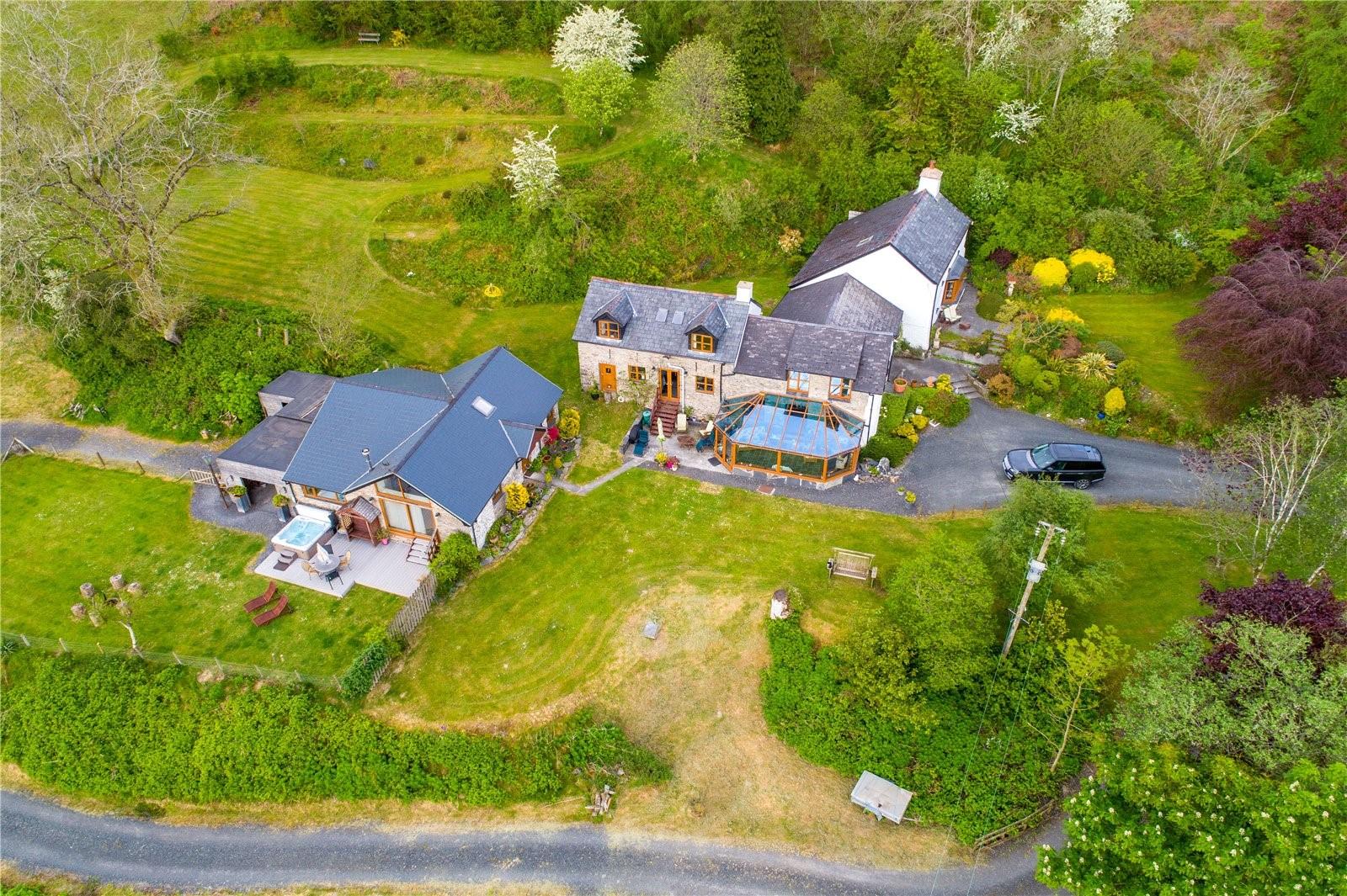 Georgian farmhouse estate aerial shot East Wales coastal property