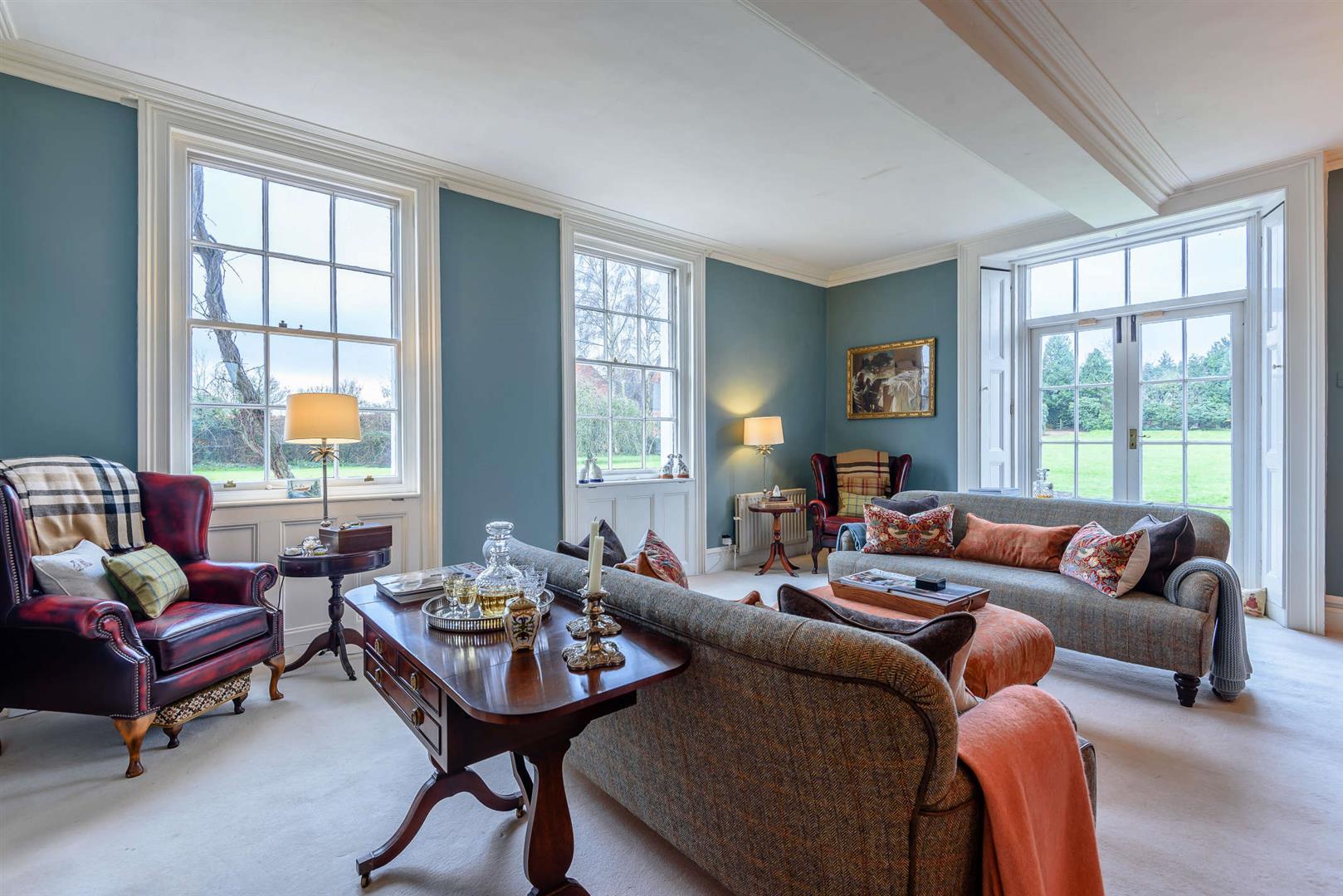 Grade II Listed Georgian Manor House drawing room symmetrical interior