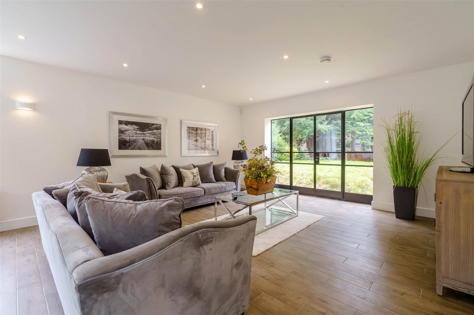 grey modern interior living room renovation crittal windows