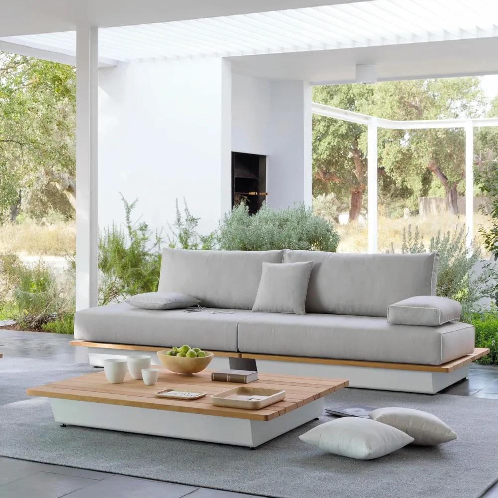 grey stylish luxury plush outdoor garden sofa lounge furniture