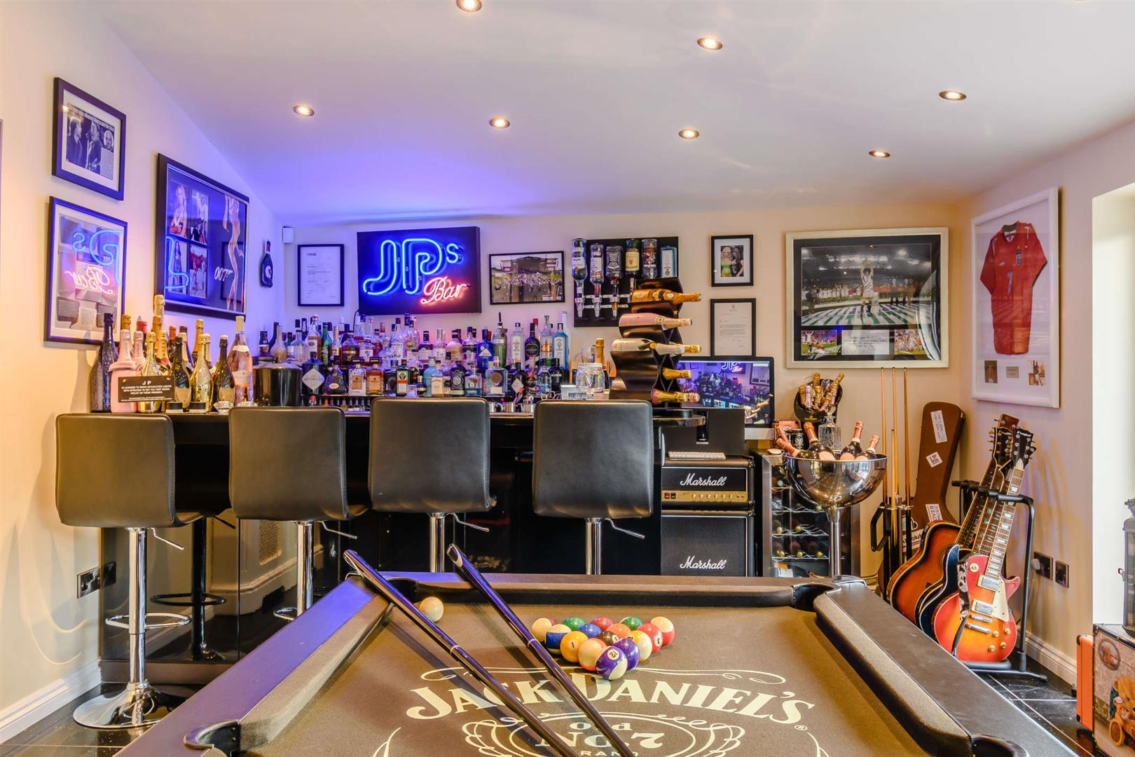 home entertainment bar and games room spots and guitars