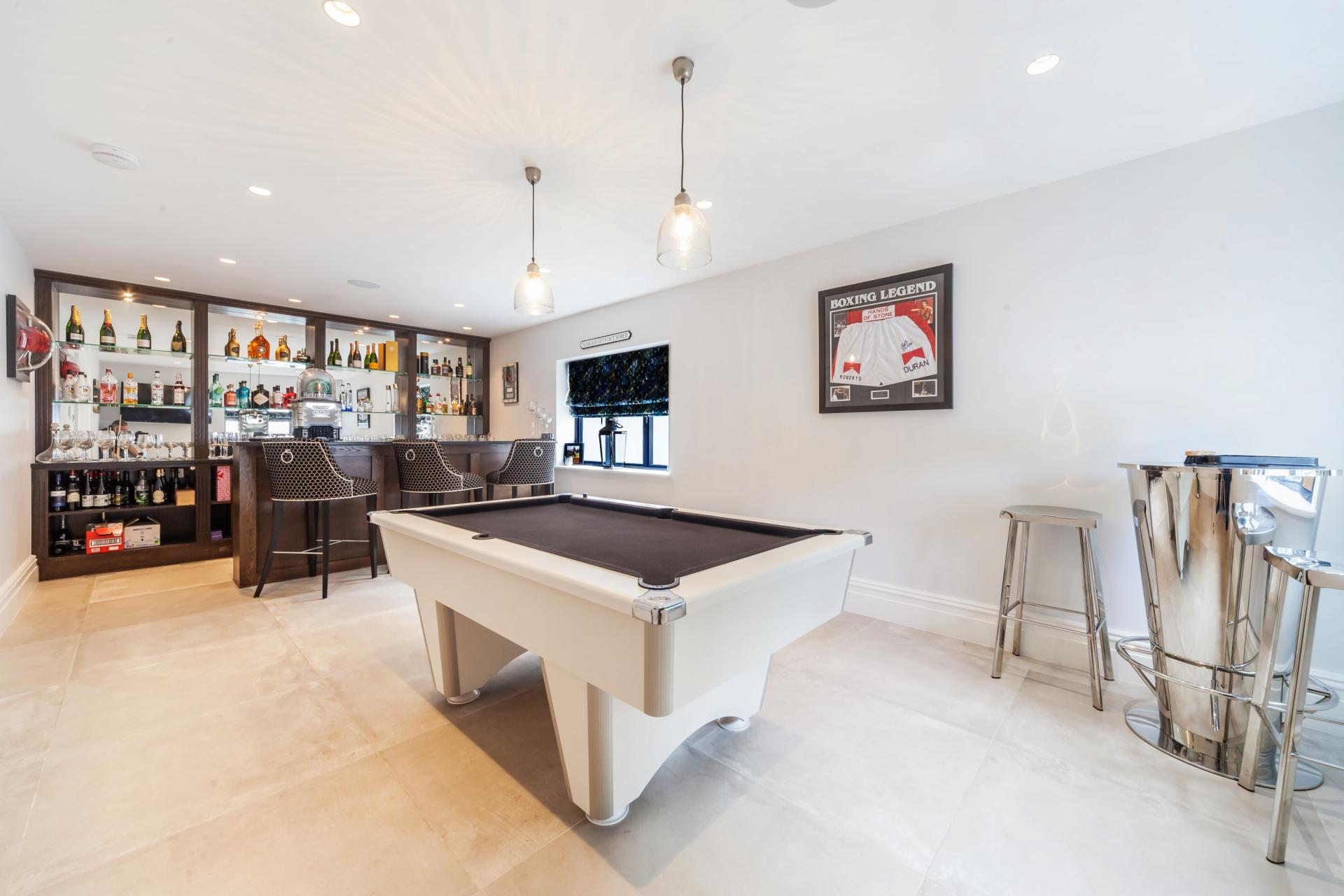home fitted bar and pool table white modern