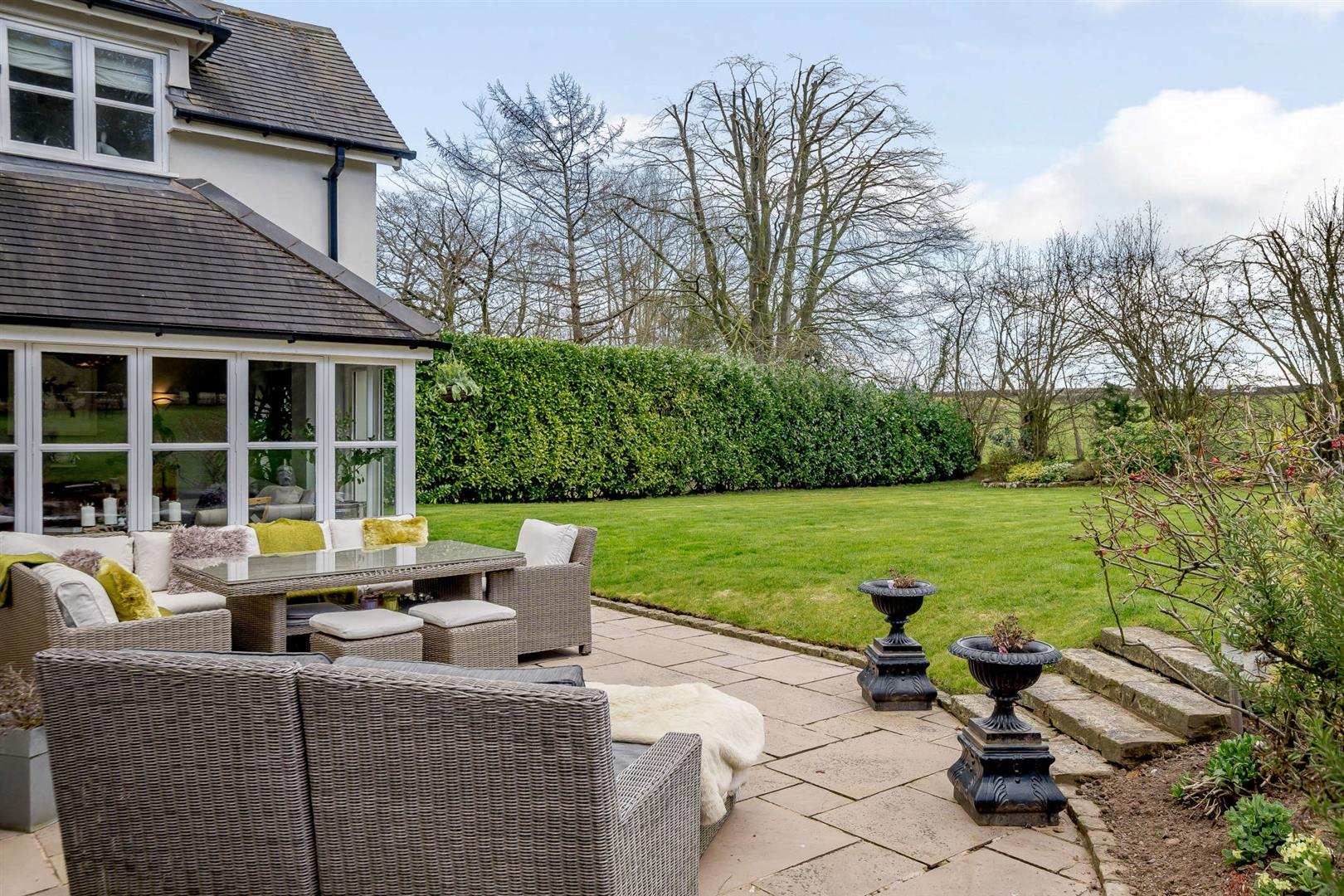 interior styled wicker furniture entertaining terrace in countryside
