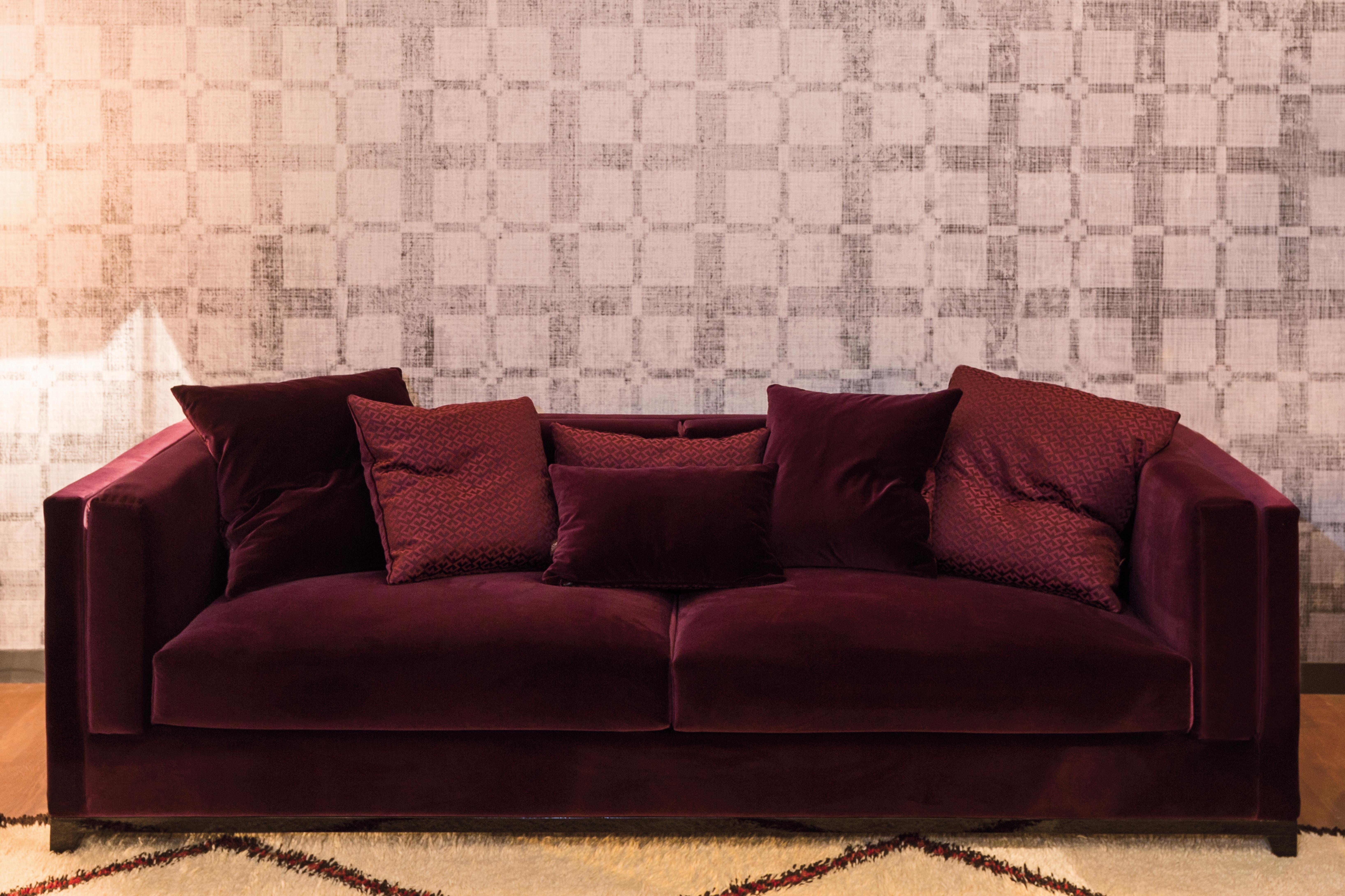 Juliettes Interiors beautiful red velvet sofa