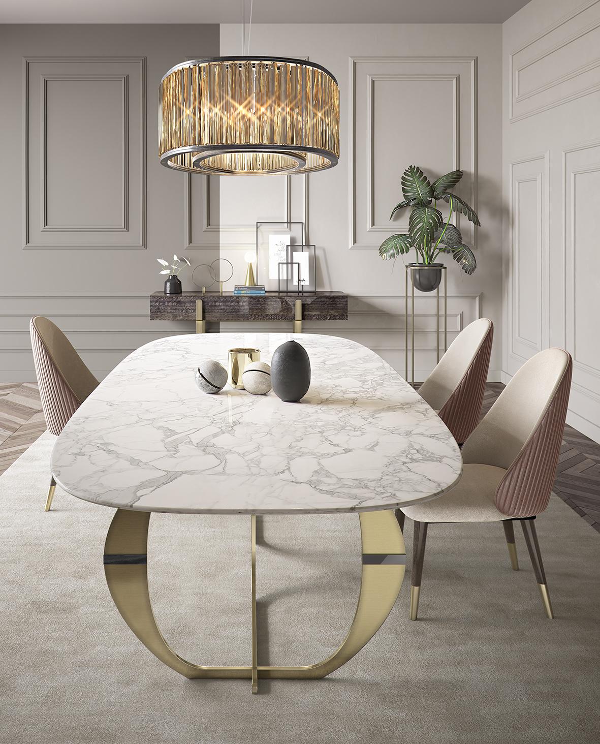 Juliettes Interiors marble dining table in bright luxury interior designer room