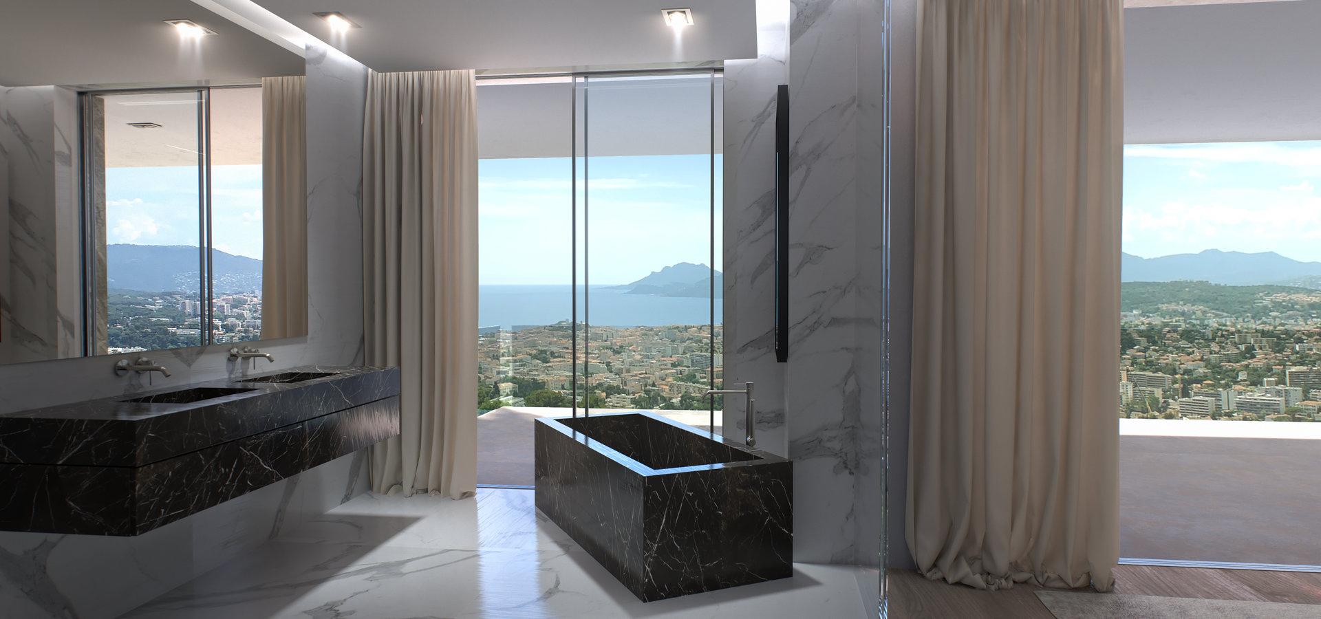 luxury black marble bathroom with freestanding bathtub and sinks