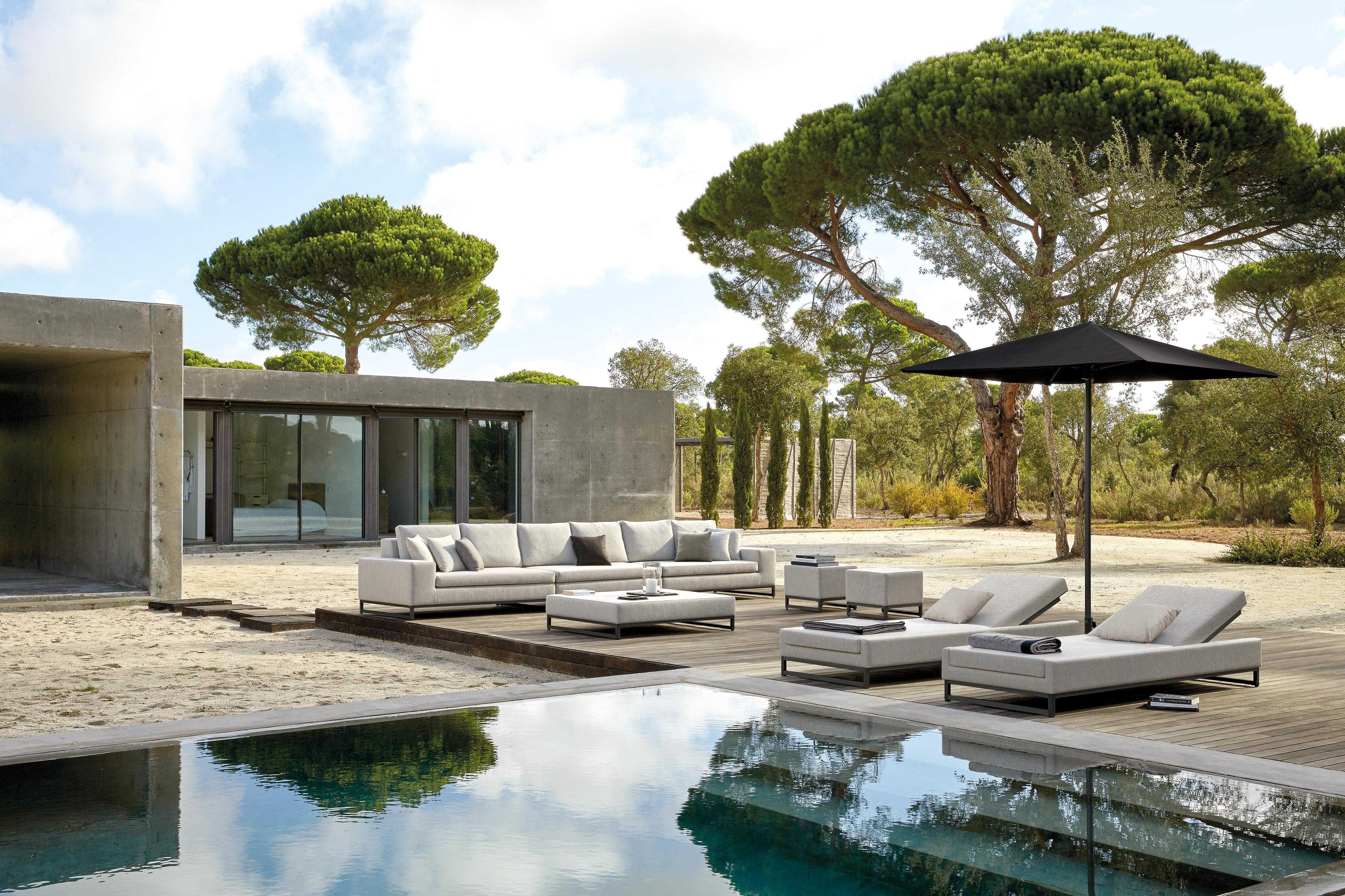 luxury grey contemporary interior design garden furniture set poolside