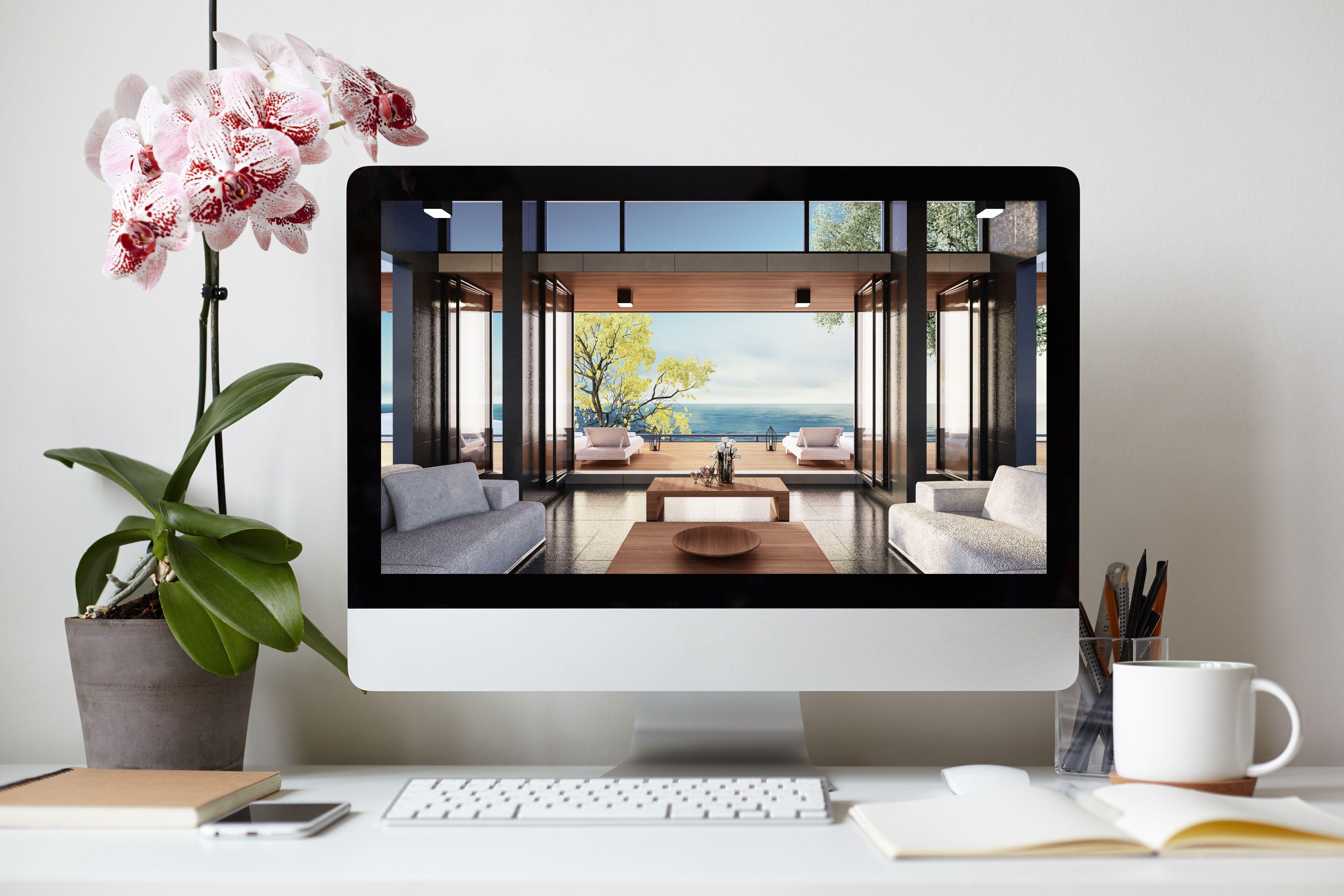 luxury house viewing on modern desktop computer