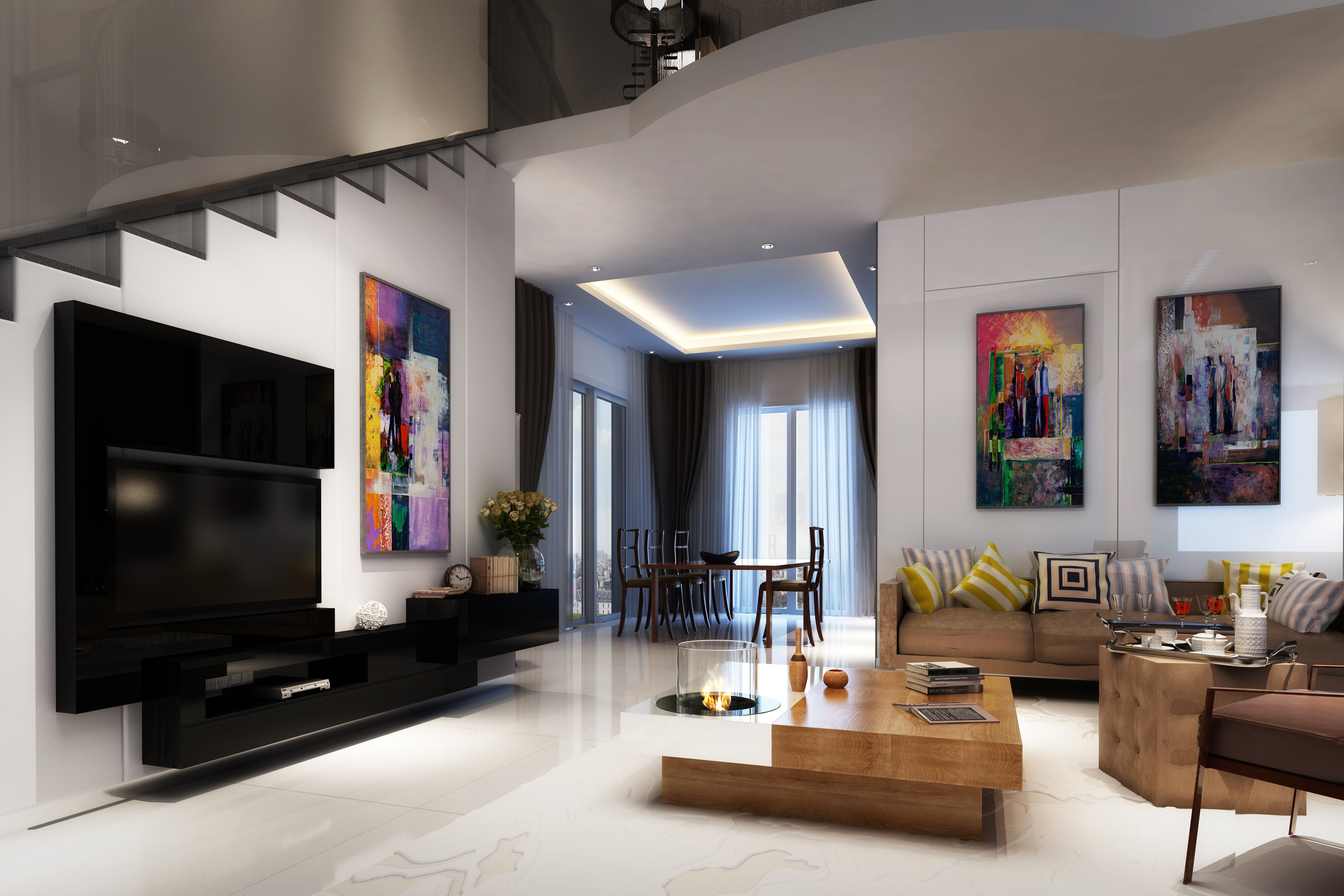 luxury modern living room art work