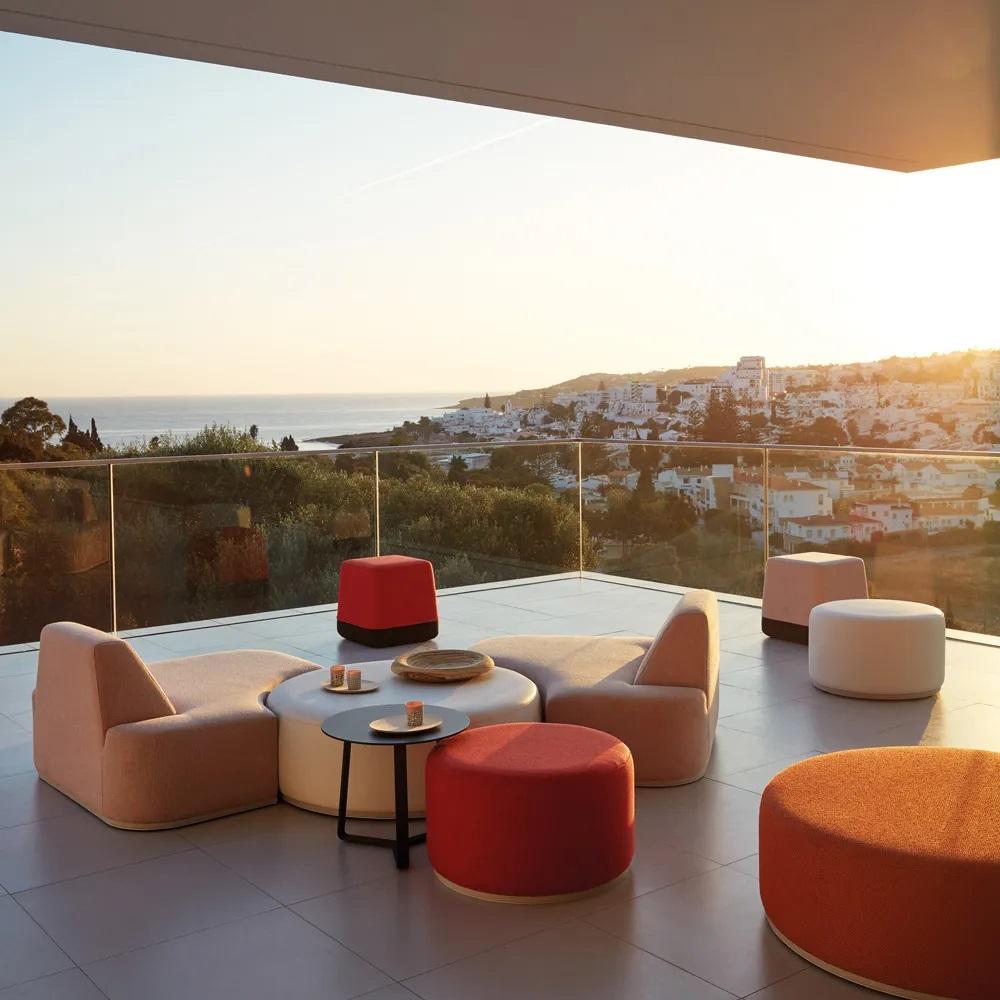 luxury modern modular garden chairs and pouffe furniture sea view Europe