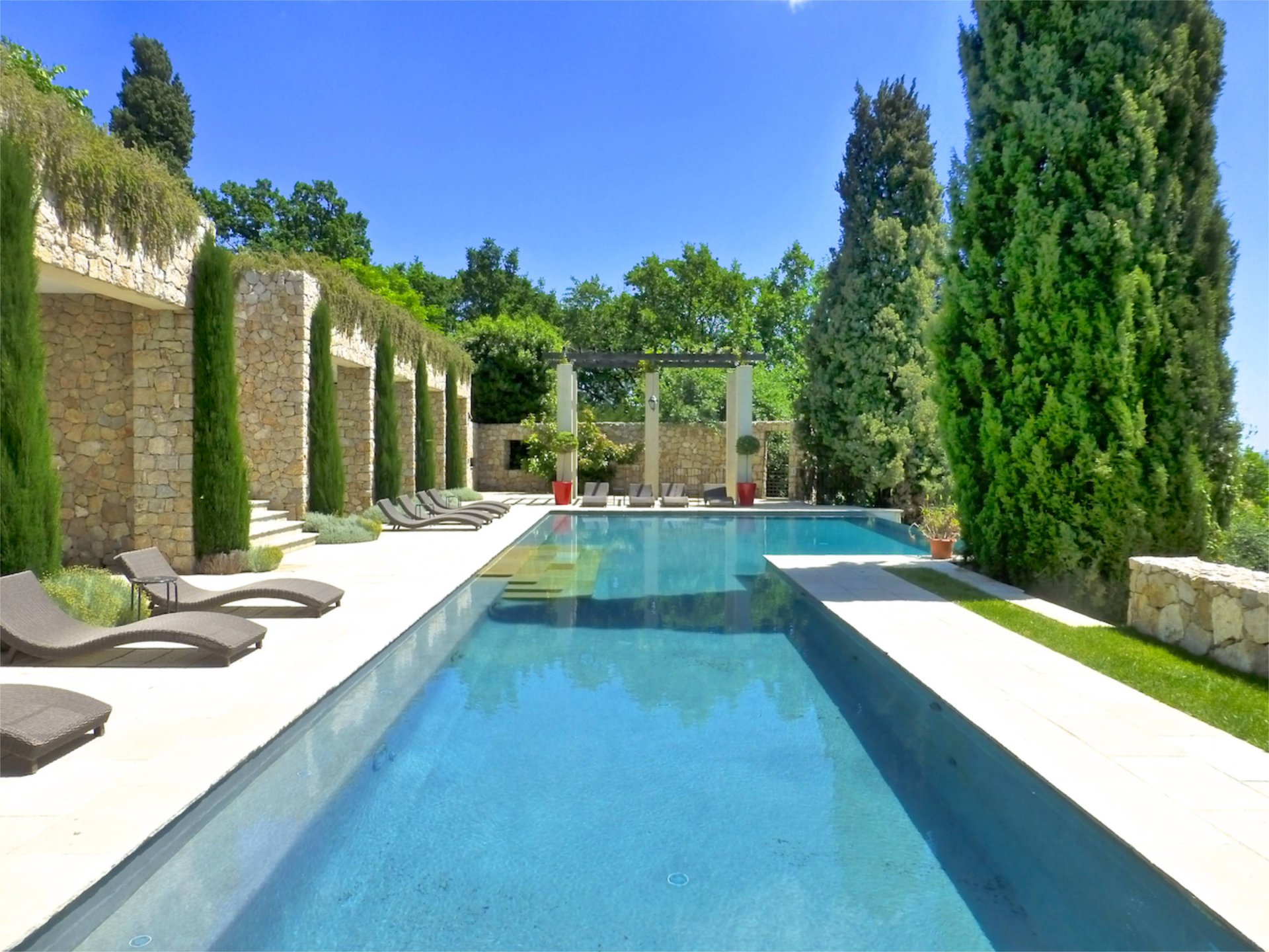 luxury outdoor swimming pool in France