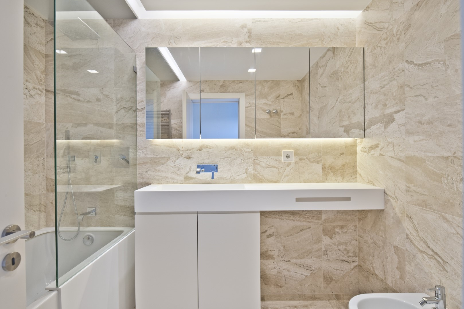 neutral natural cream italian marble luxury bathroom
