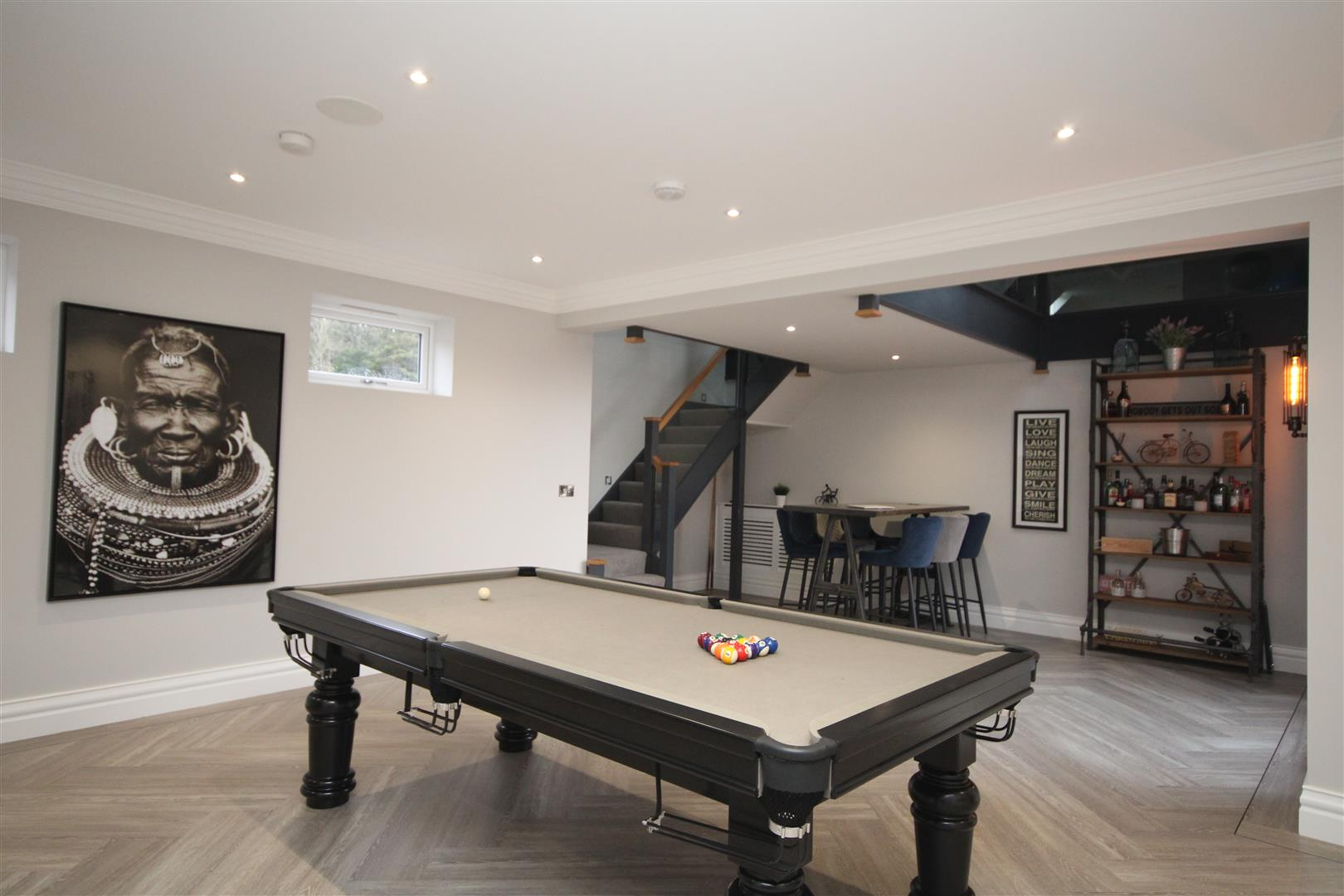 modern interiors in games room with grey pool table