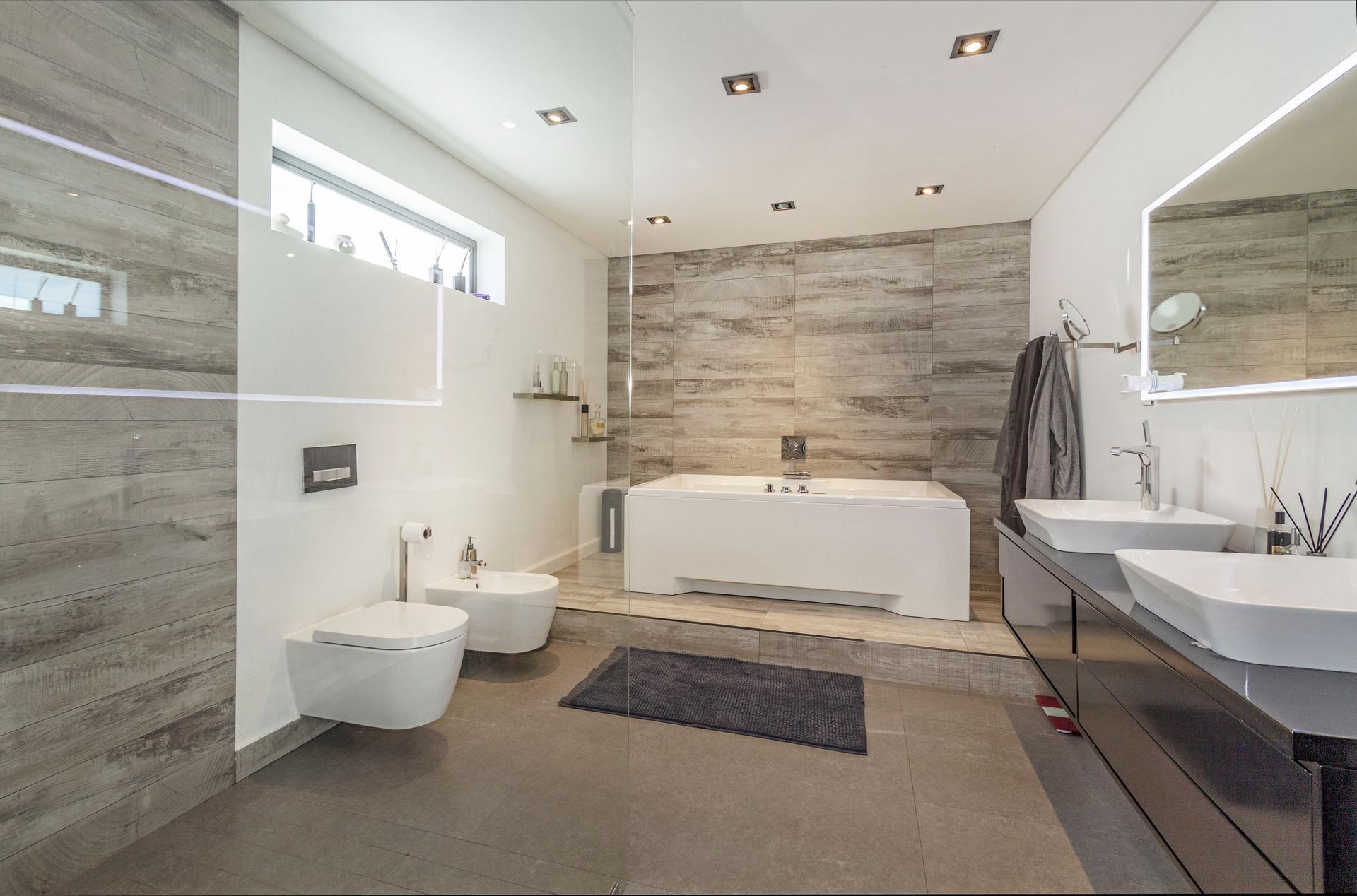 contemporary natural neutral marble bathroom