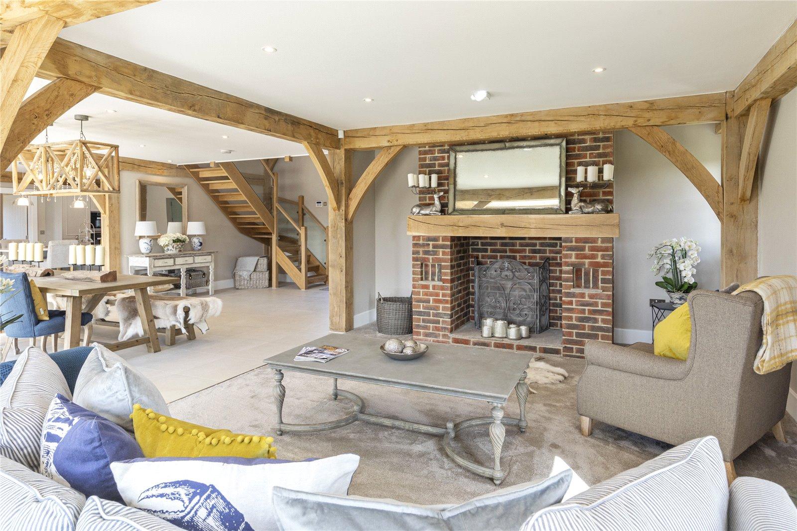 nordic ski lodge inspired interior design with brick fireplace