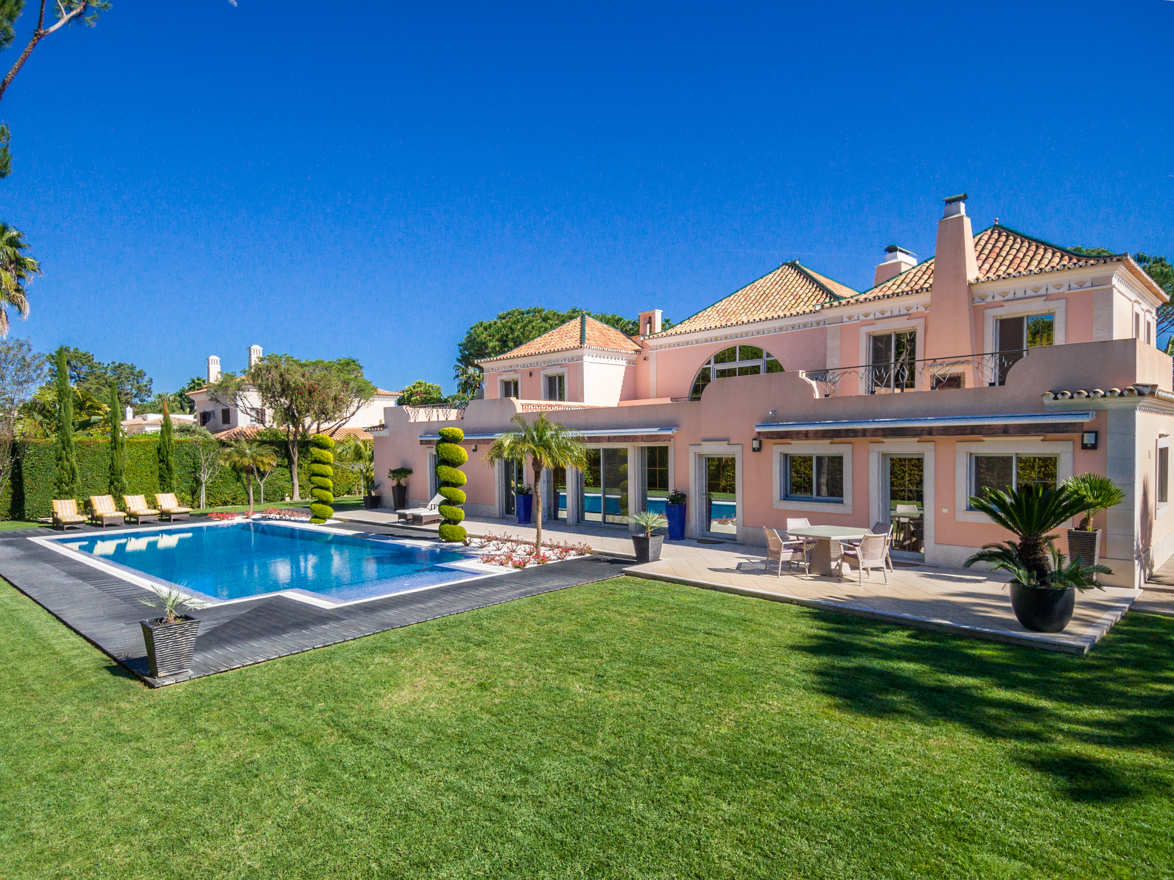 pink luxury summer holiday villa for sale swimming pool portugal