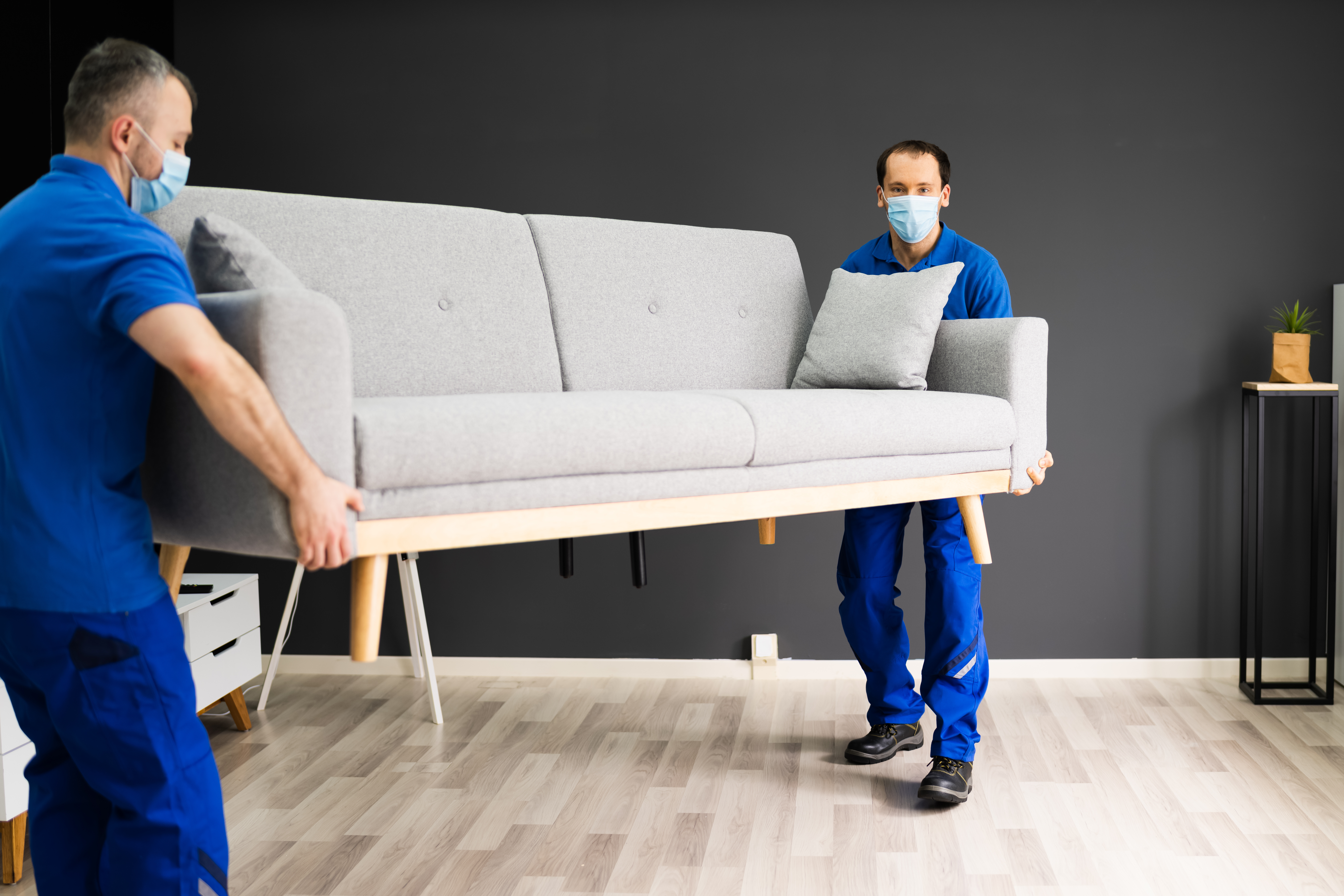 Professional Movers Moving Couch Furniture