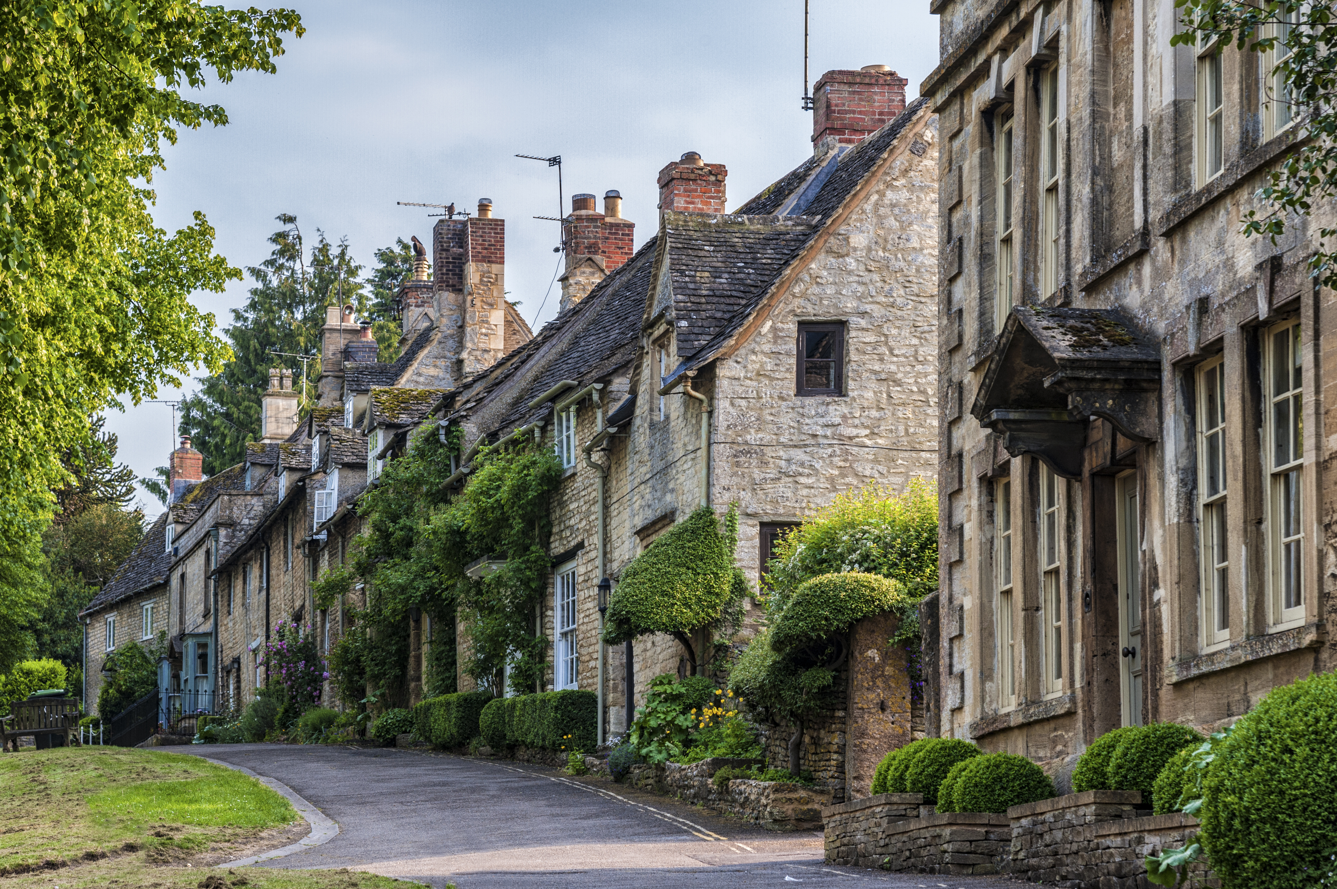 medieval English village with stone built homes