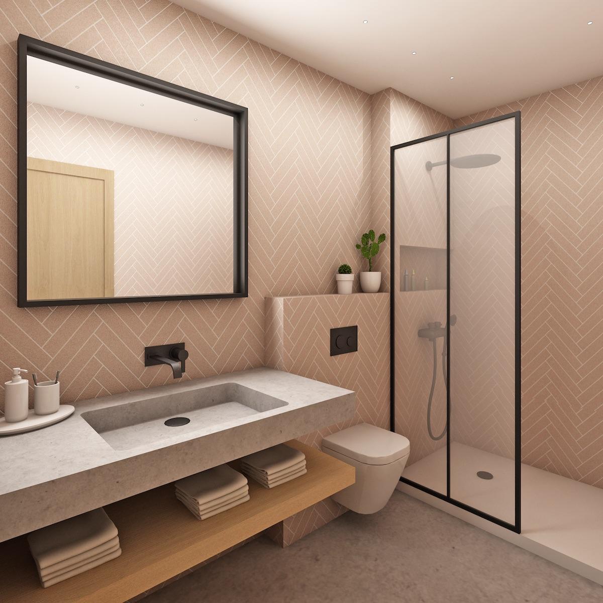 pretty pink parquet tile bathroom