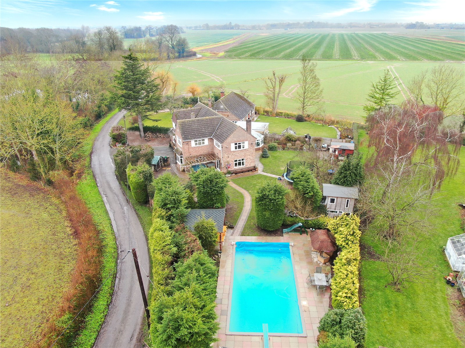 rural country home with swimming pool