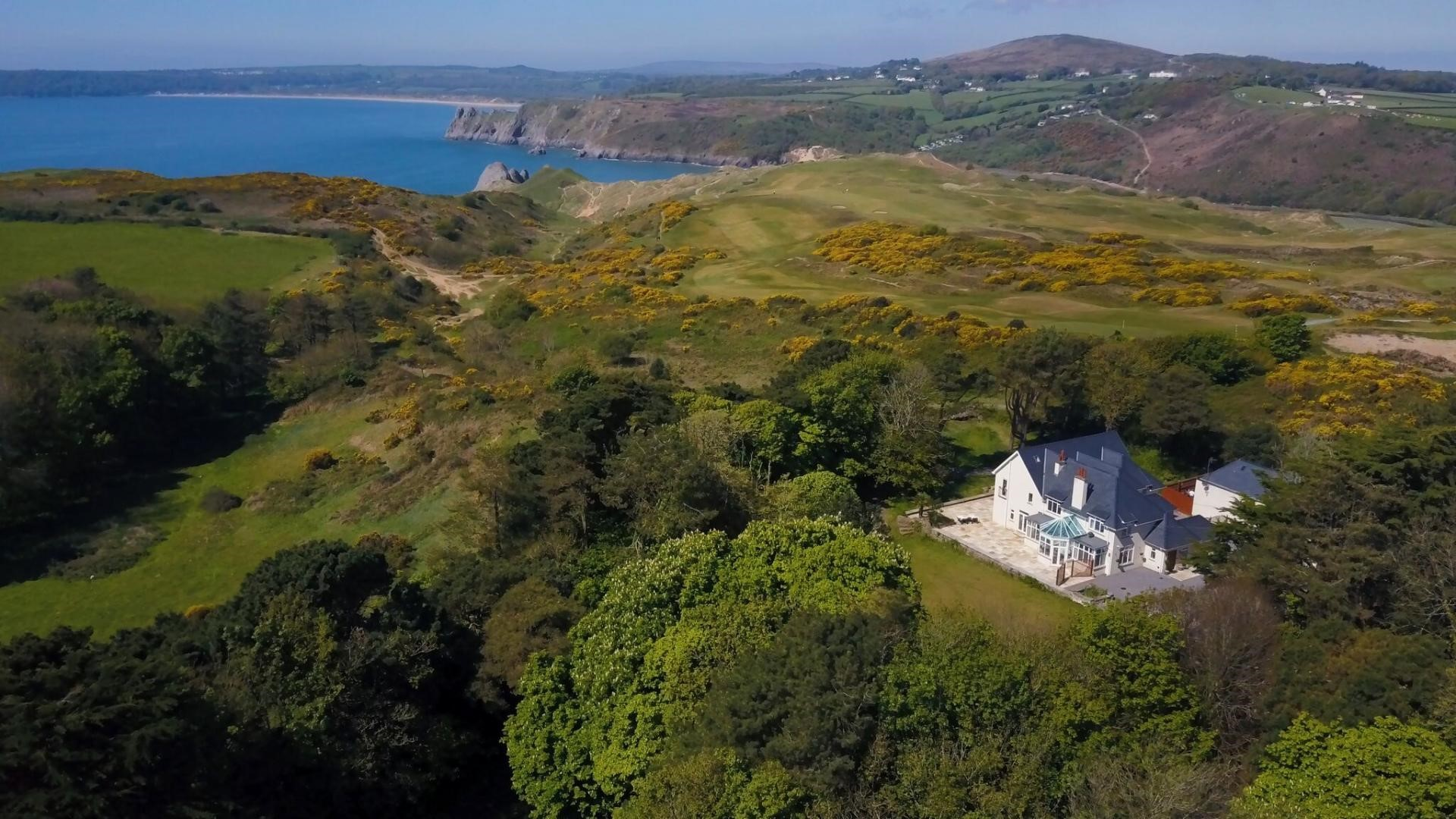 Shirecombe Three Cliffs Oxwich Bay South Wales house by sea