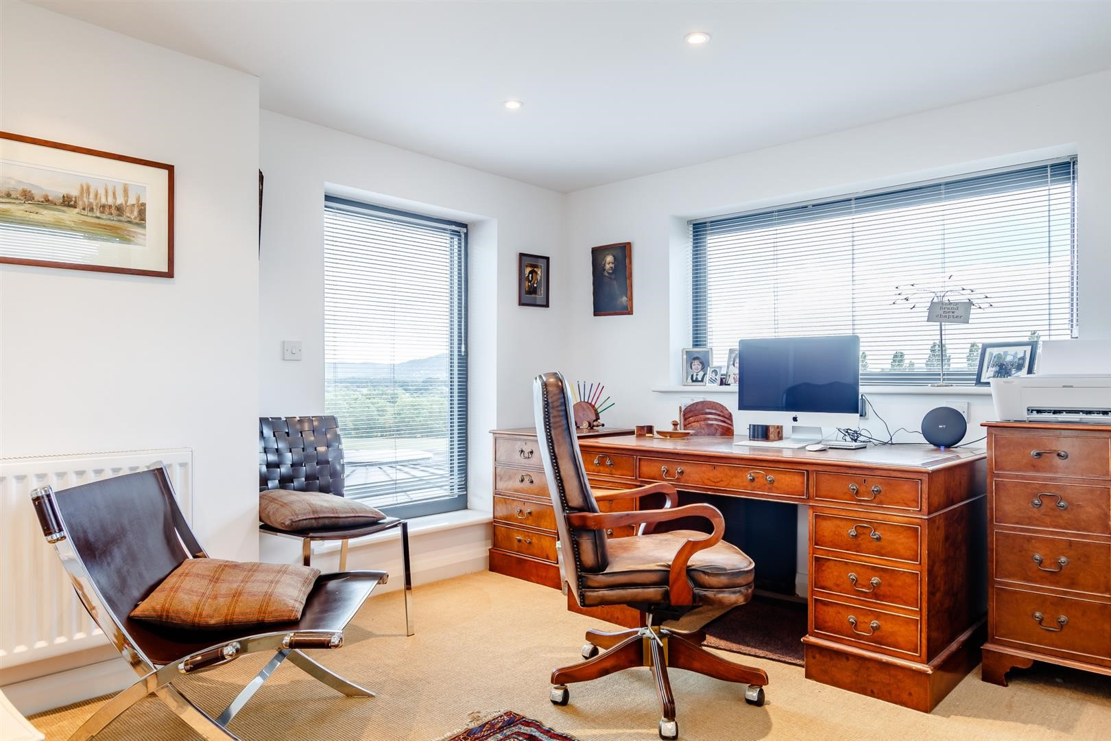 traditional contemporary wood leather work from home office inspiration