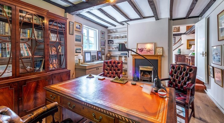 traditional period home study office leather chairs desk fireplace masculine interiors