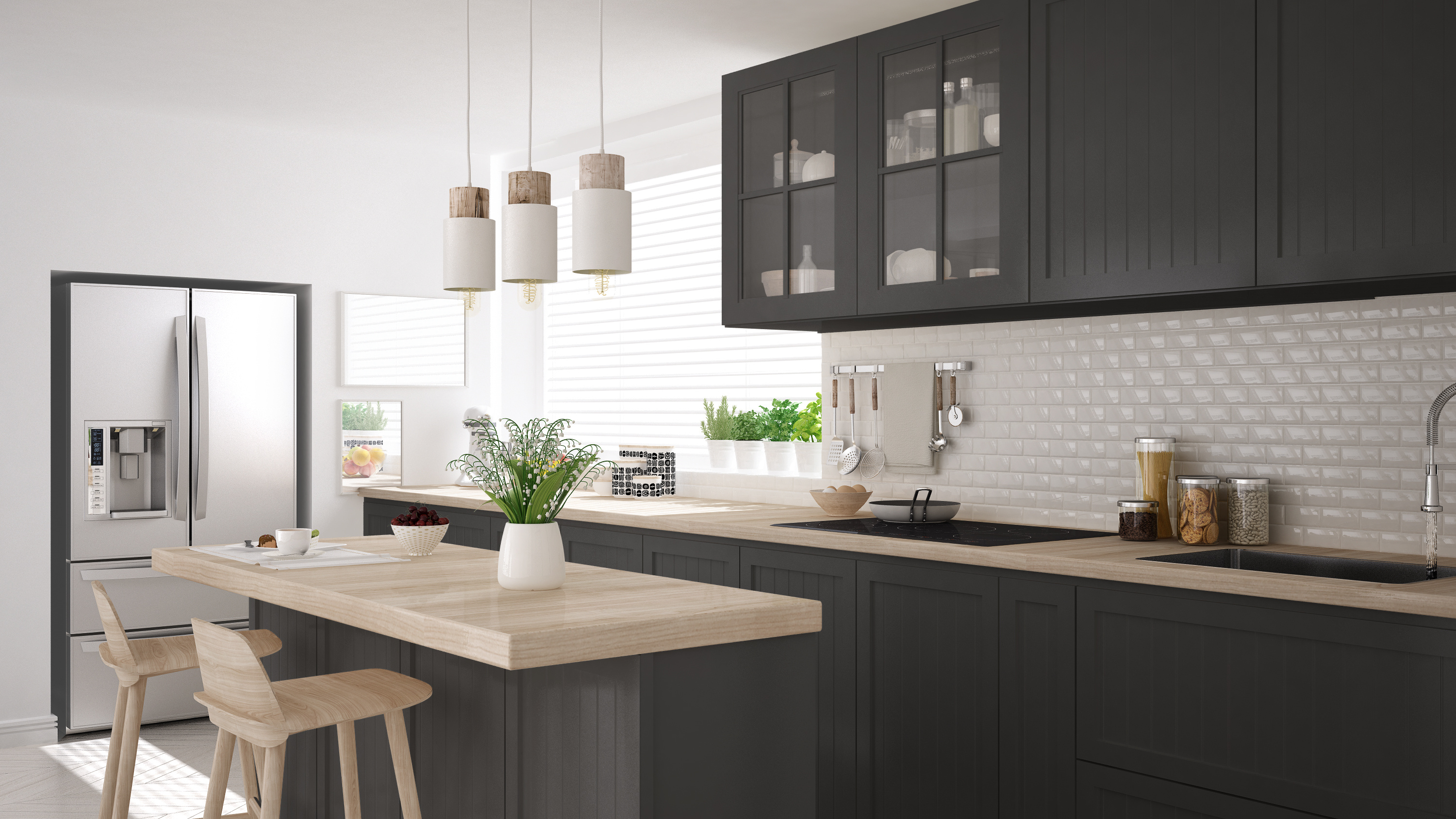 traditional shaker kitchen cabinets with wooden worktops