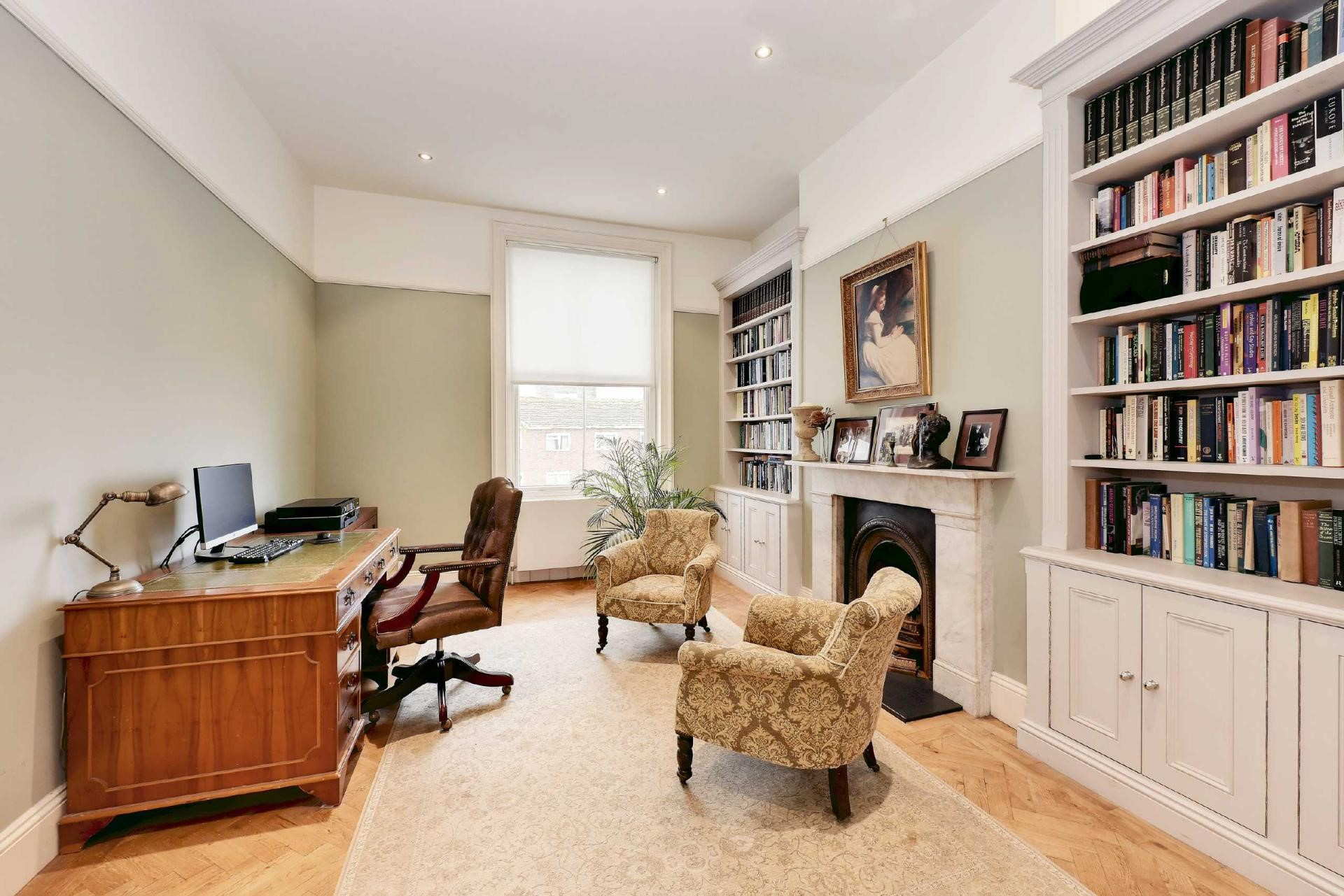 Victorian terraced house contemporary home office gallery library interior design