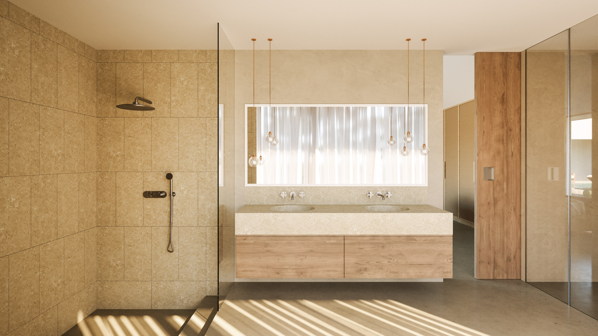 natural sand tile in neutral contemporary bathroom