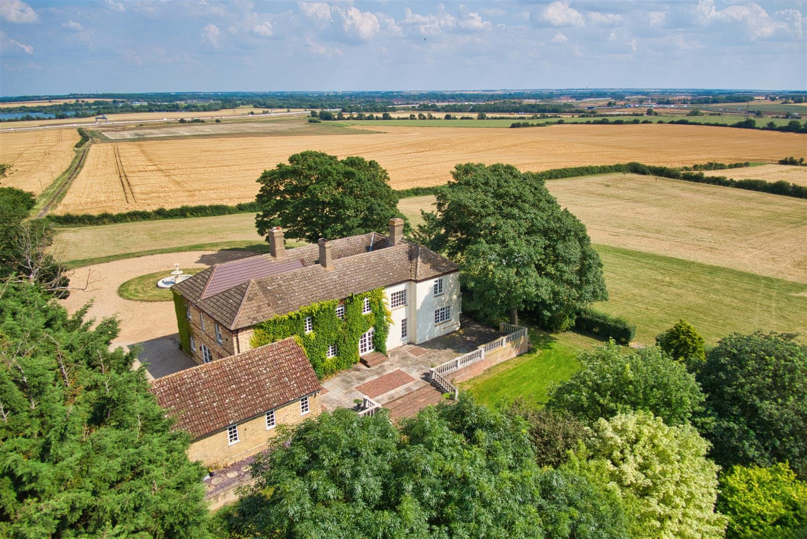 Weybridge farmhouse Cambridgeshire countryside birds eye view manor