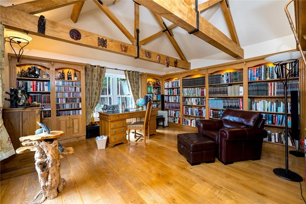 work from home office and traditional personal library reading room