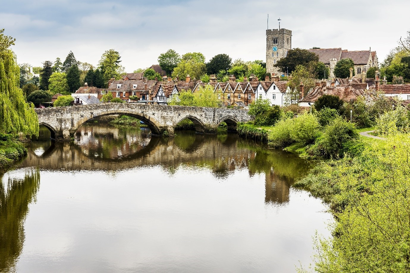 beautiful pretty British waterside village traditional period homes bridge in Maidstone, Kent