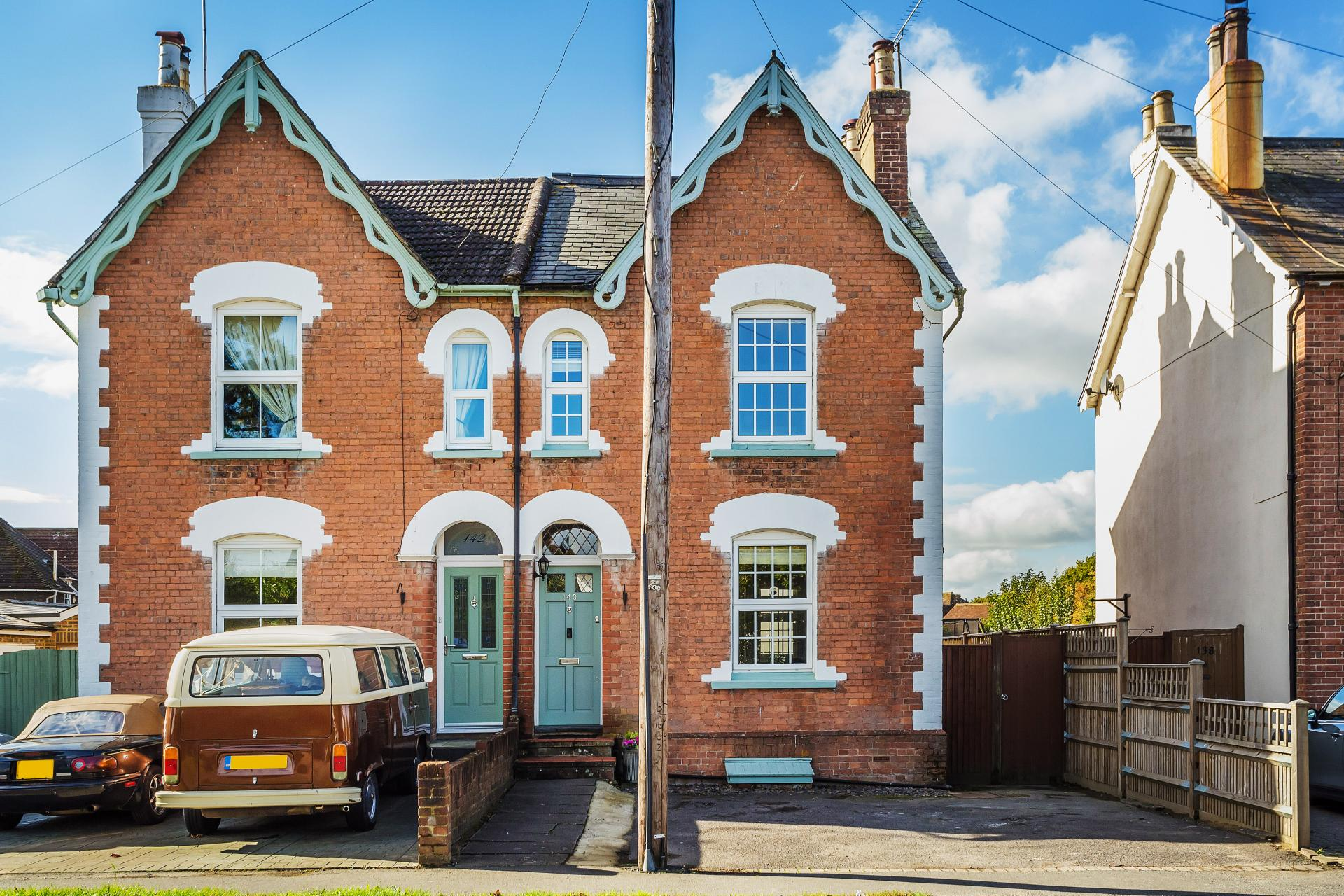 beautiful symmetrical semi-detached Victorian house brick and blue