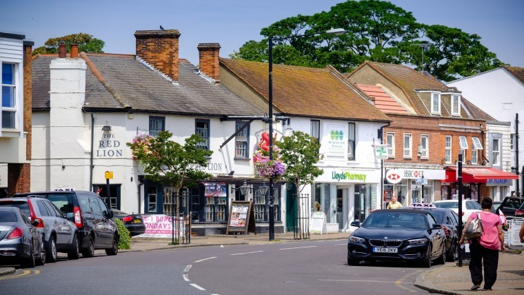 Billericay small British town in Essex high street shops