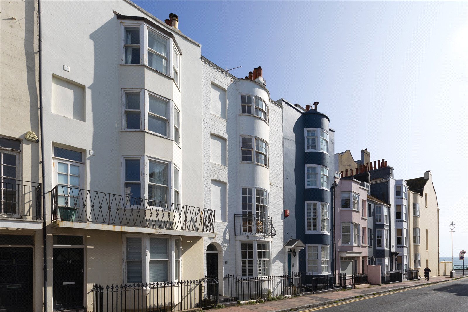 brighton east sussex row of seaside terraced houses