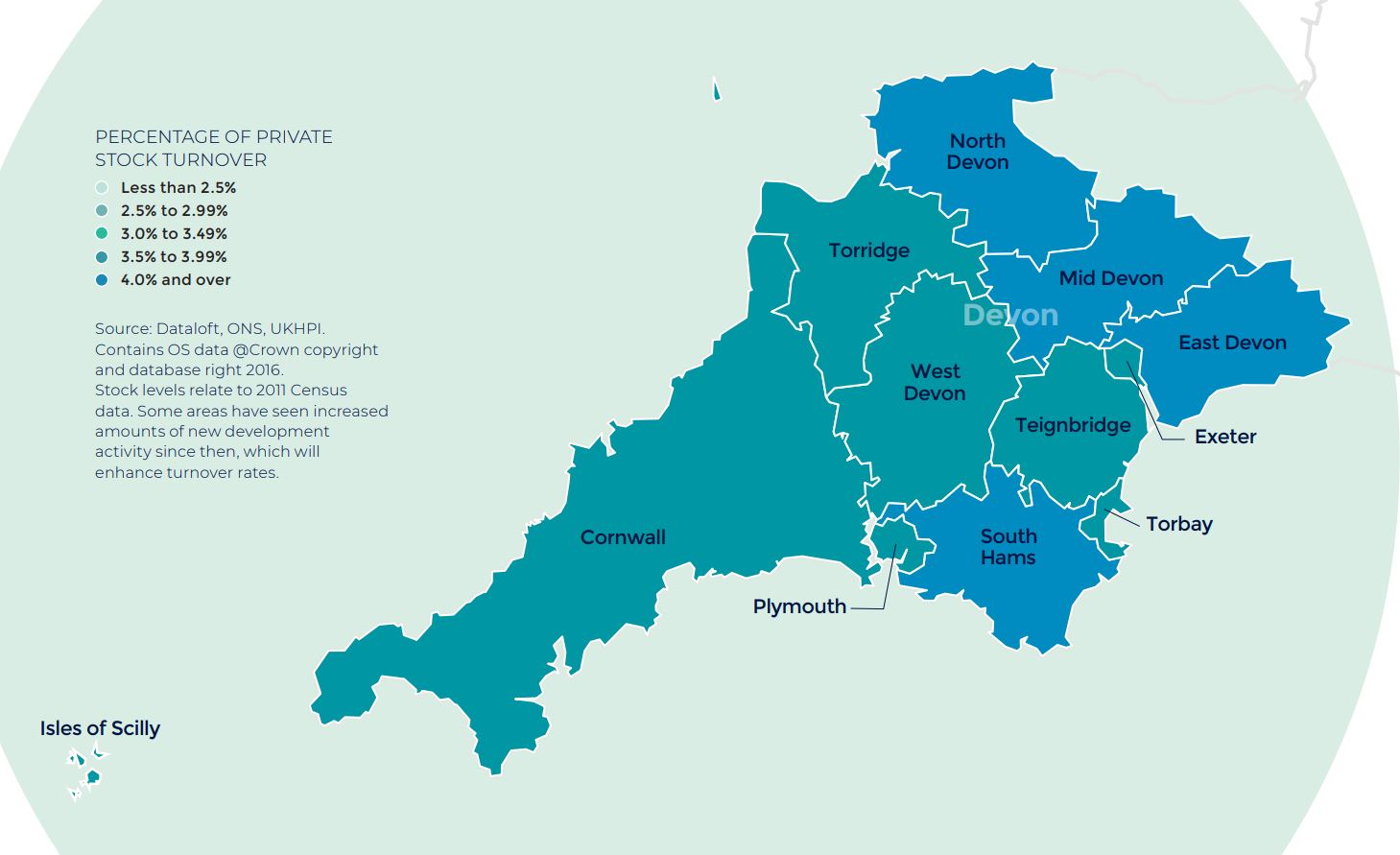 Devon and Cornwall annual rate of price change regional property market report map