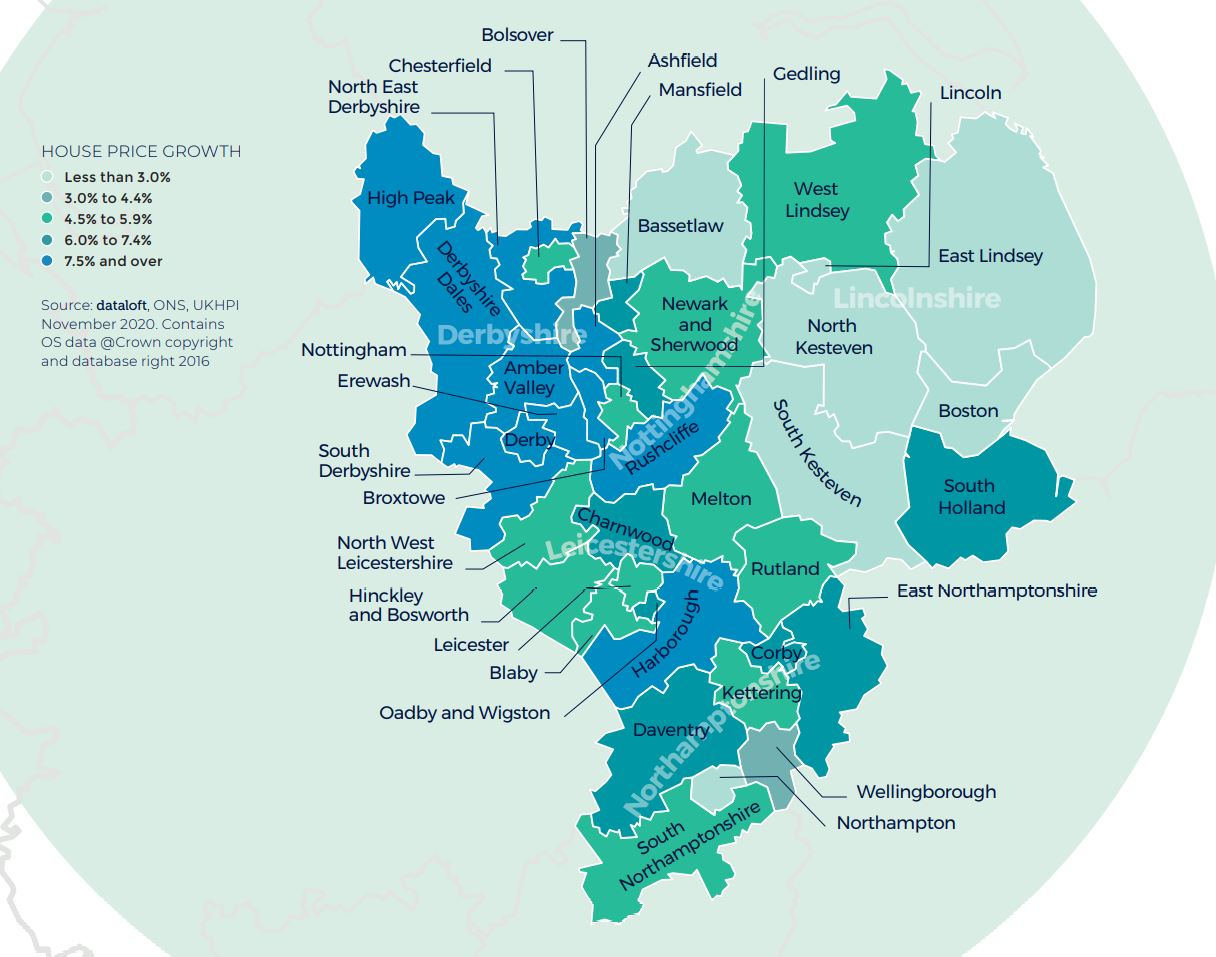 East Midlands regional property market report house price growth