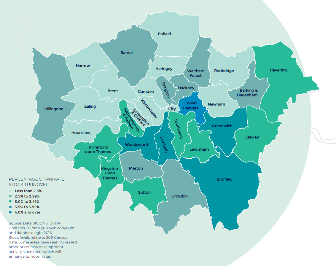 London annual rate of price change regional property market report statistics